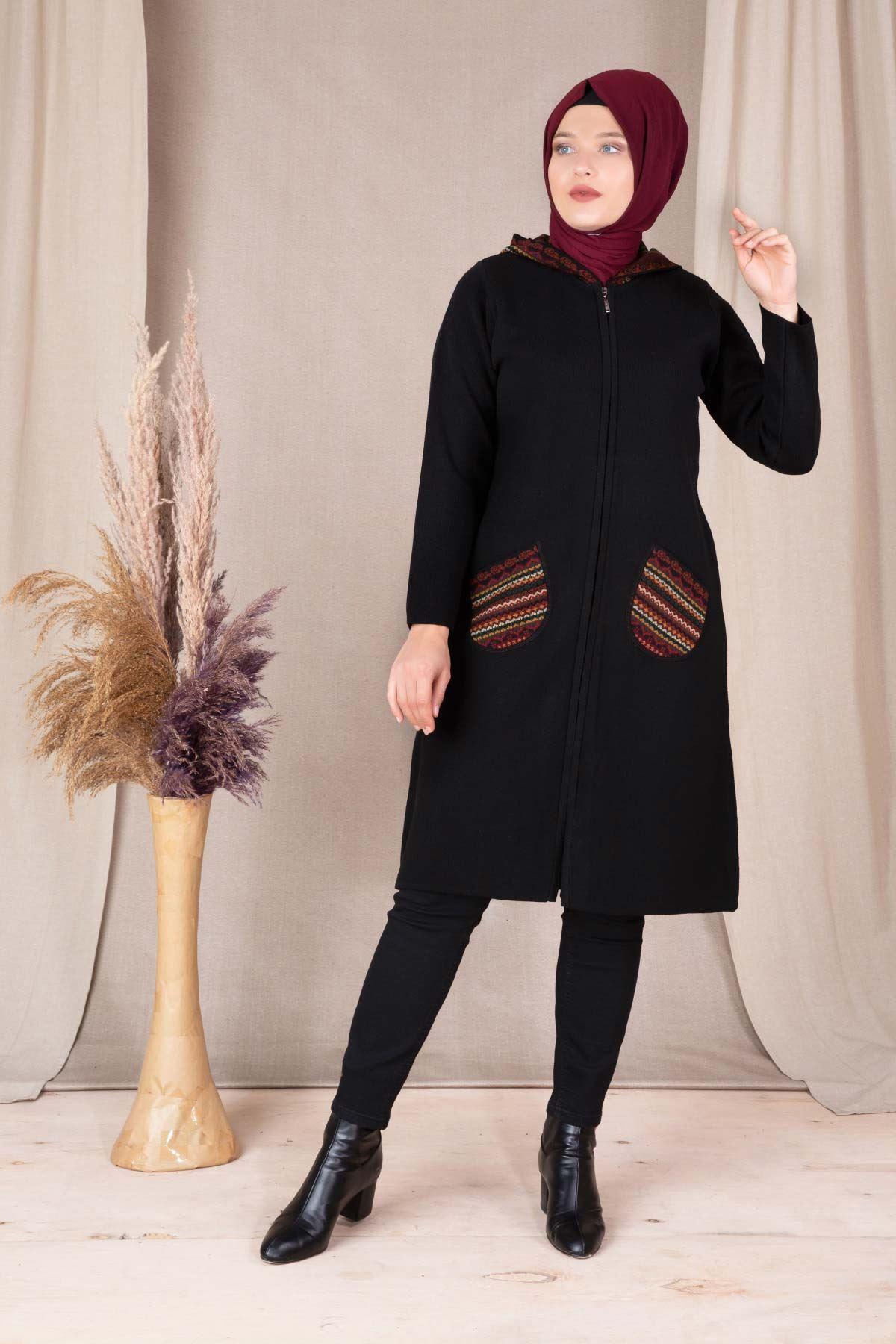 Büyük Beden Triko Ceket Siyah 9890