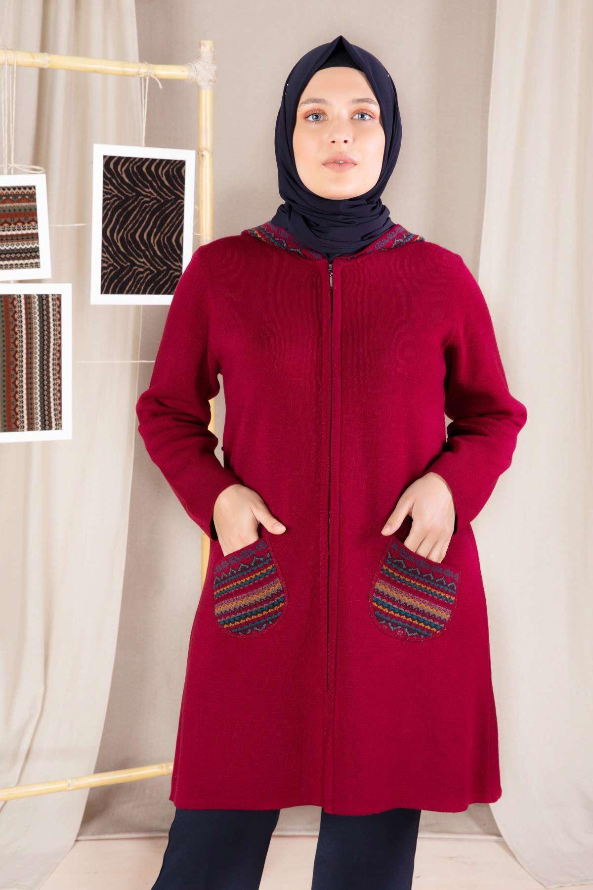 Büyük Beden Tesettür Triko Ceket Kırmızı 9205