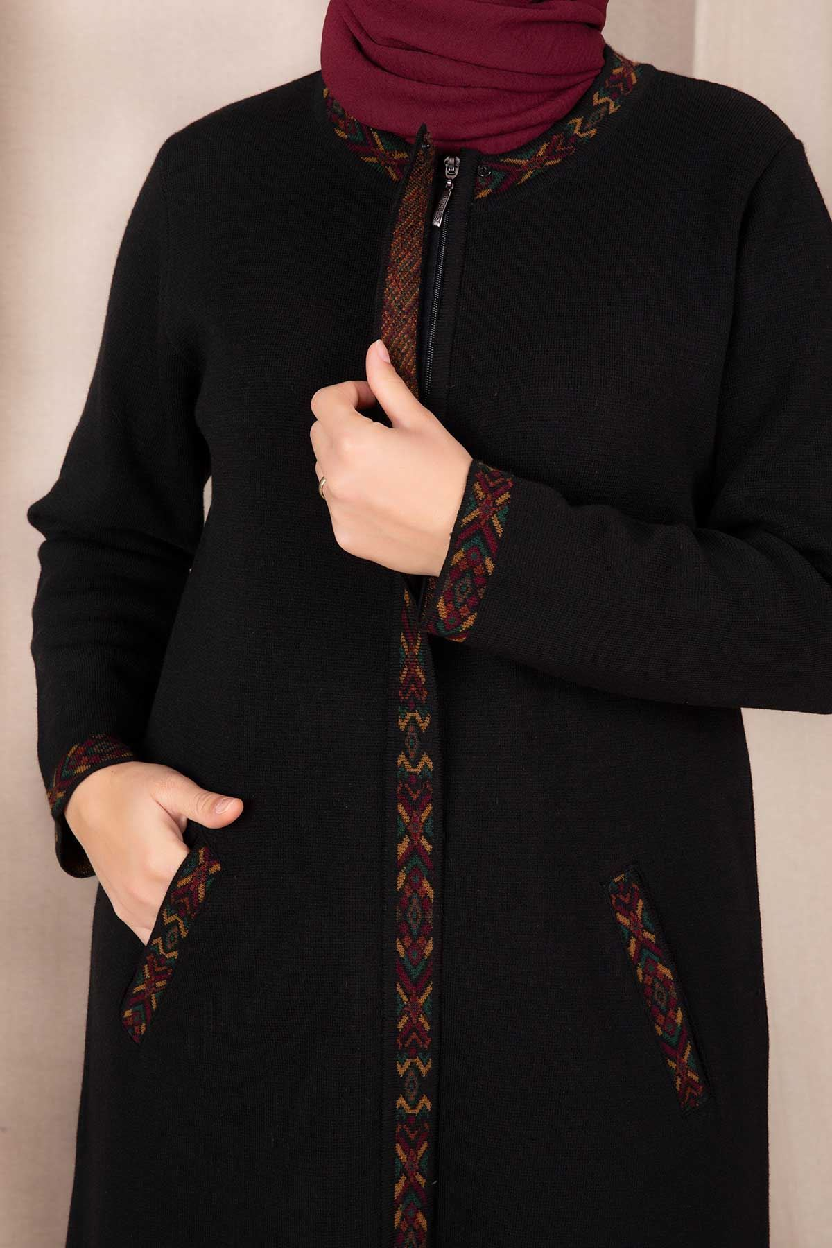 Büyük Beden Tesettür Triko Ceket Siyah 9304