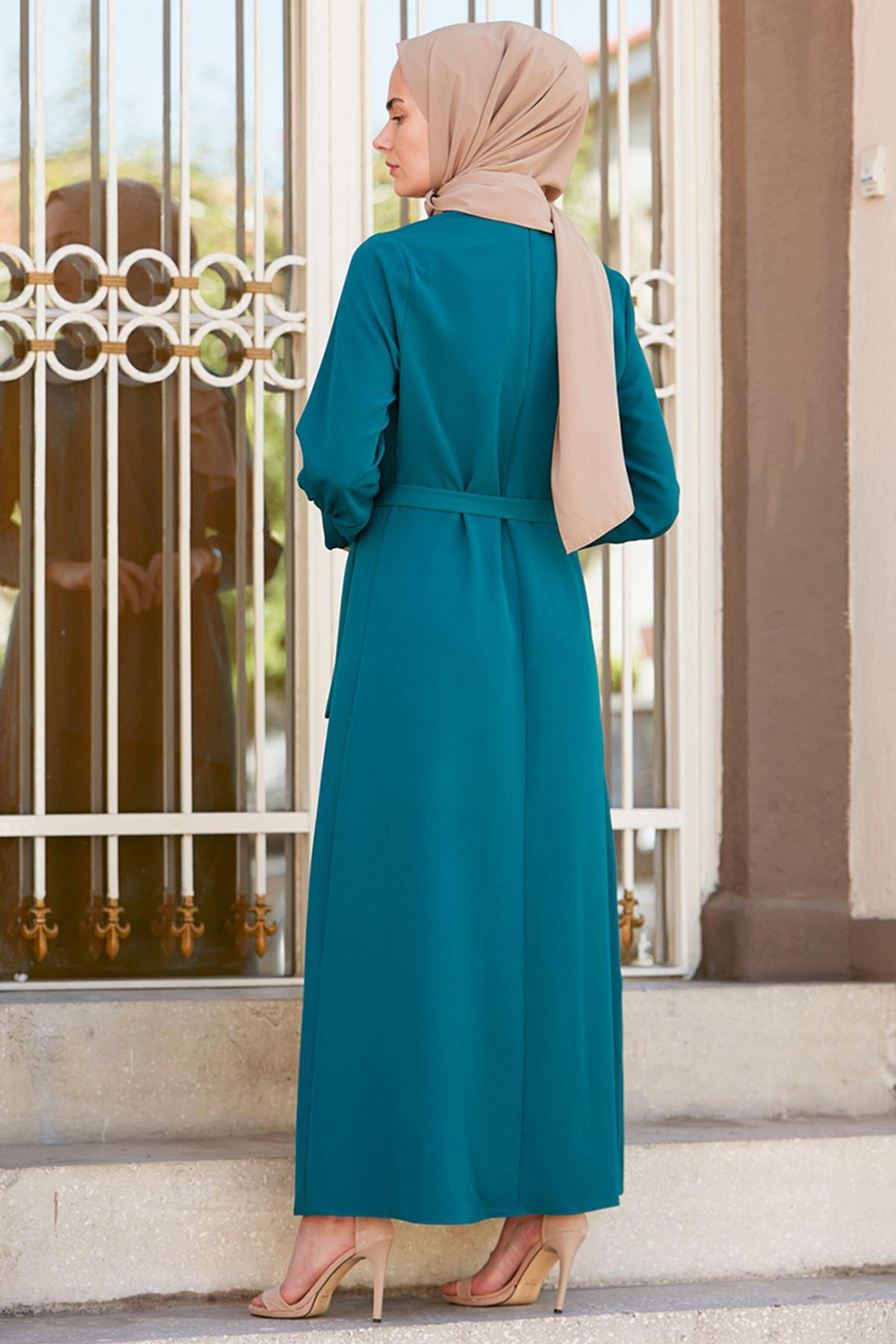 İvory Elbise Petrol
