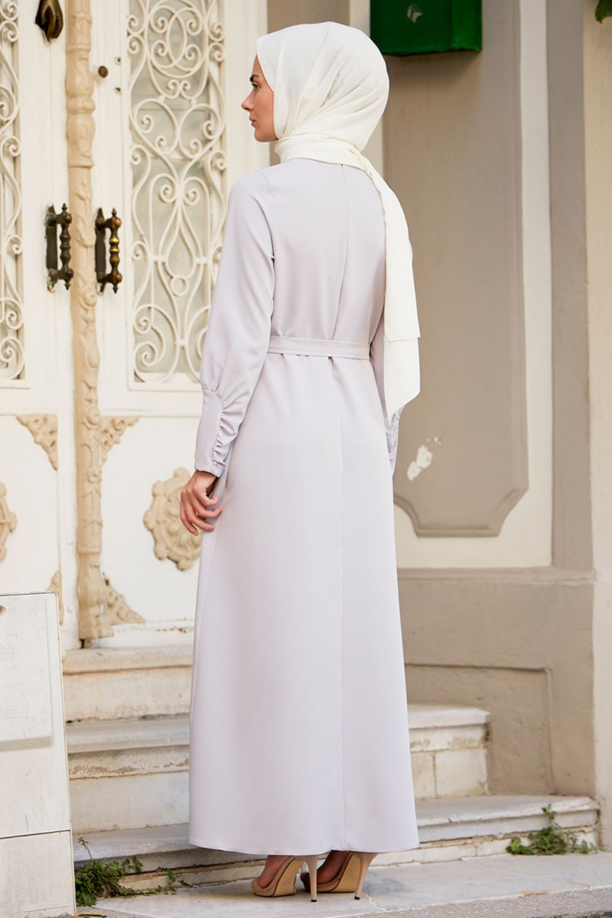İvory Elbise Gri