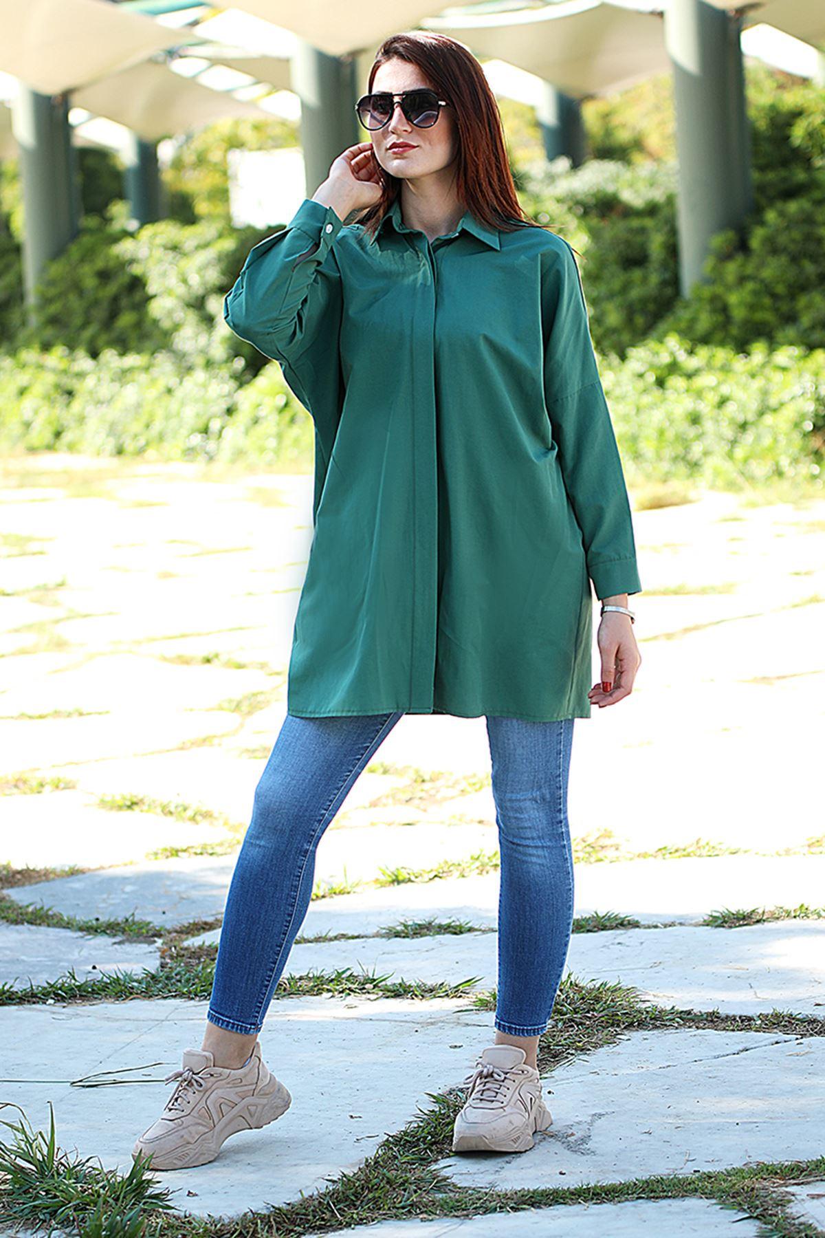 Poplin Gömlek Yeşil