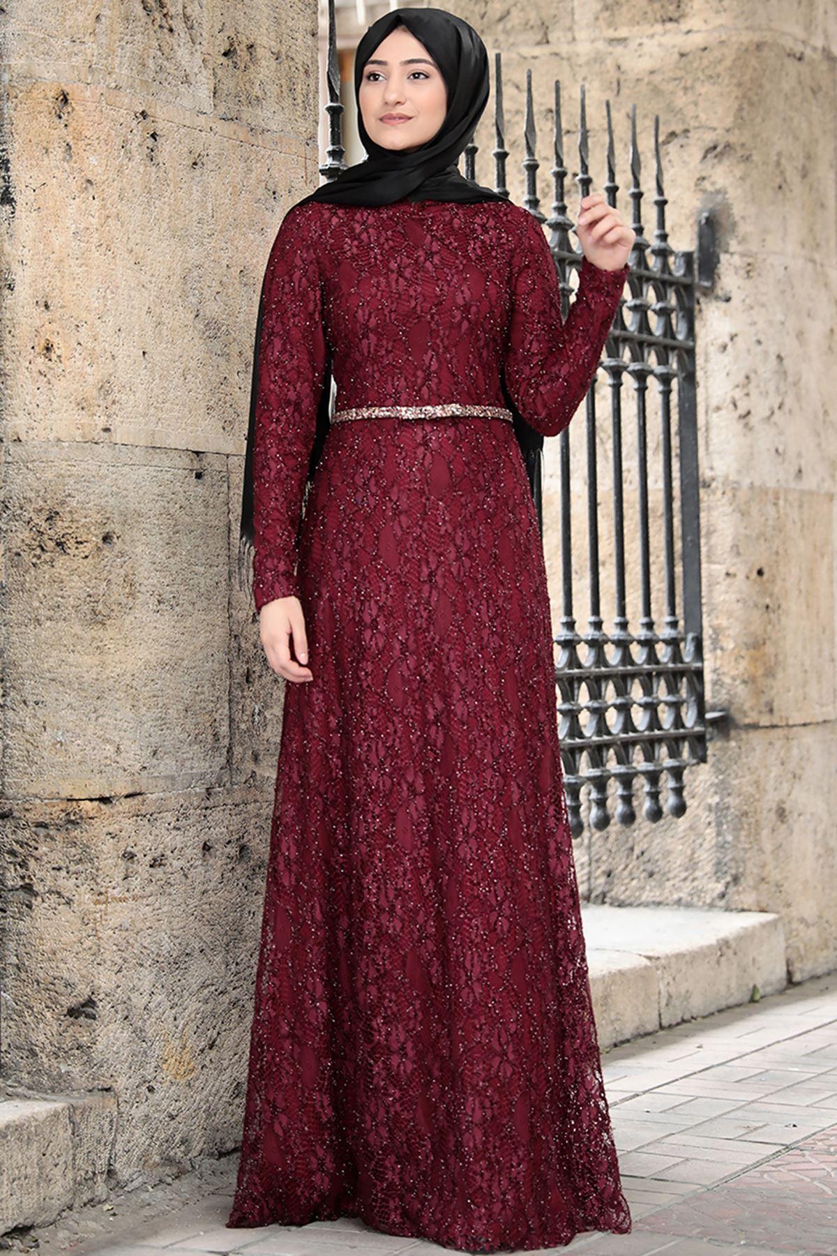 Rabeysa İpek Elbise Bordo RAB8507