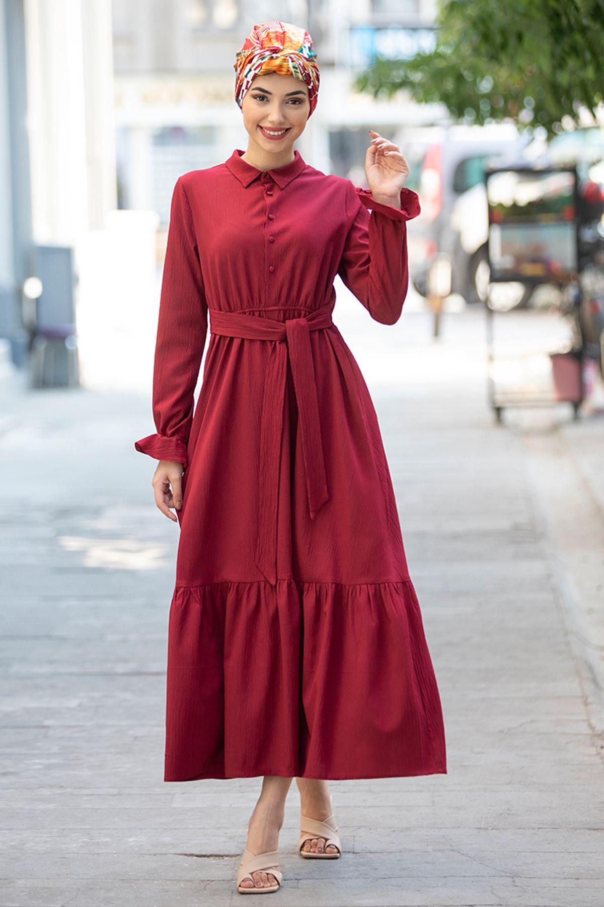 Piennar Vera Büzgülü Elbise Bordo PİE1518