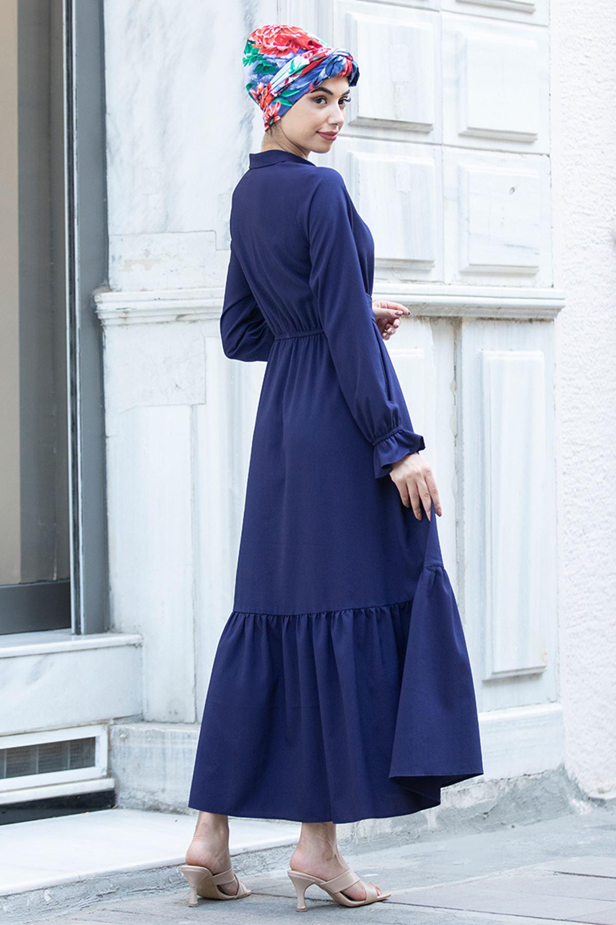Piennar Vera Büzgülü Elbise Lacivert PİE1518