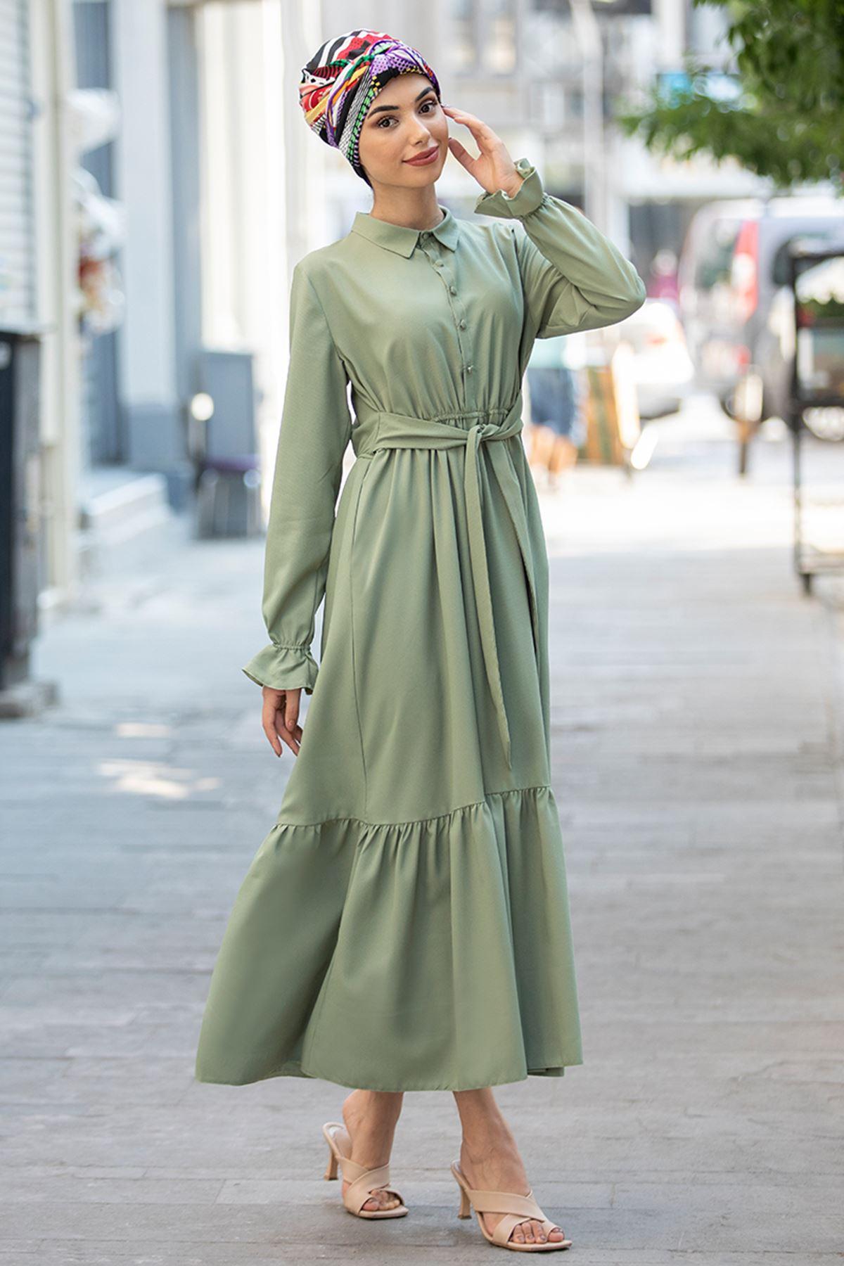 Piennar Vera Büzgülü Elbise Yeşil PİE1518