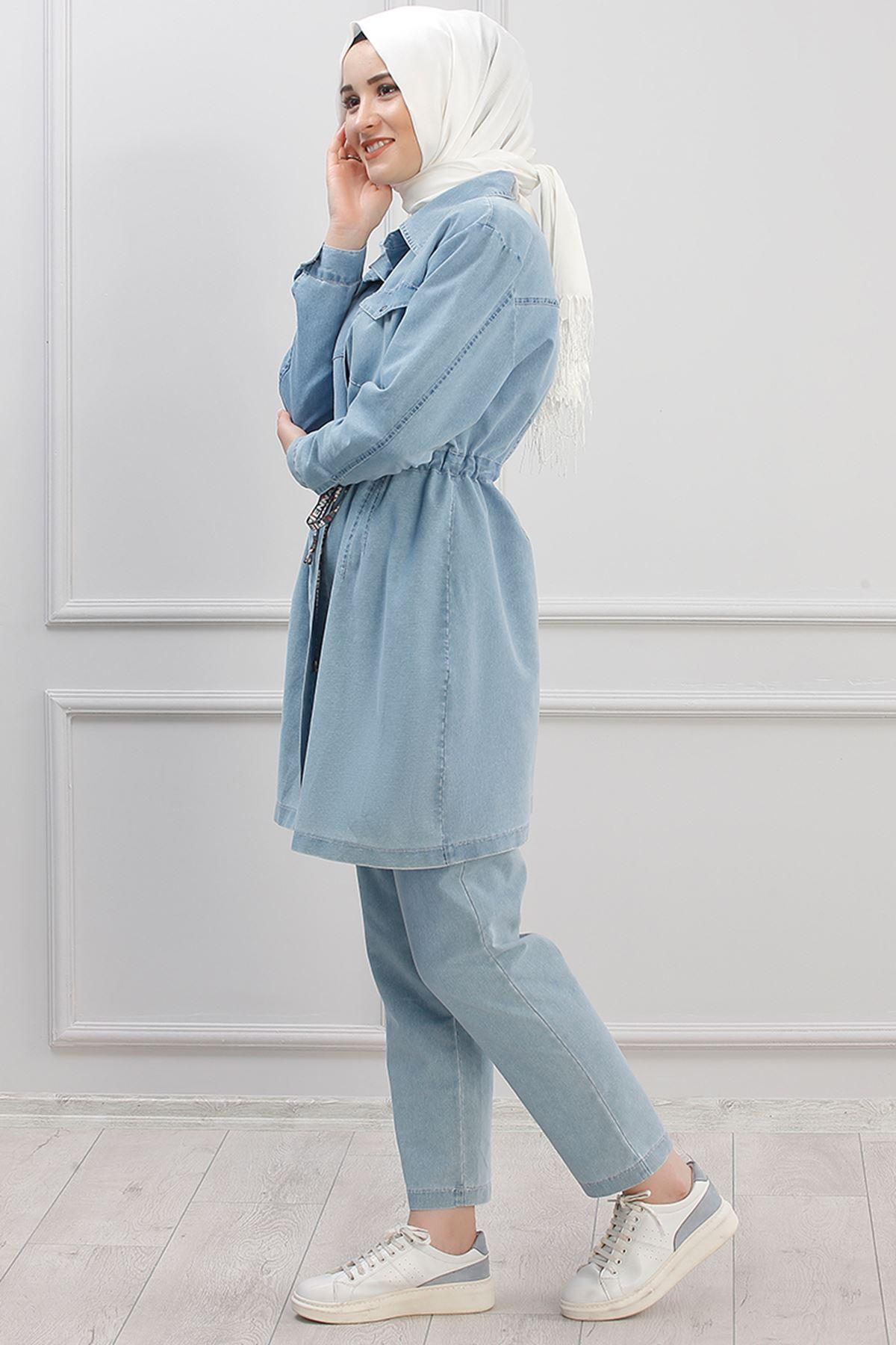 Piennar Beli Büzgülü Kot İkili Takım Buz Mavisi PİE1506