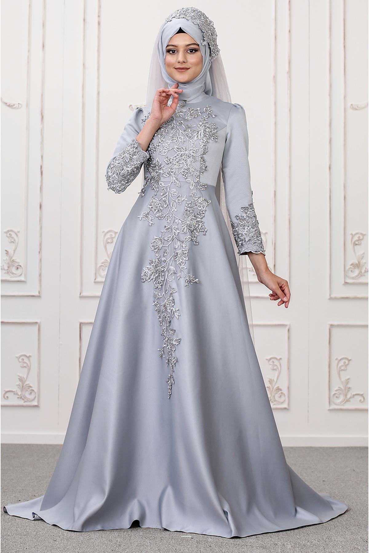 Som Fashion Lilyum Abiye Gri SOM9511