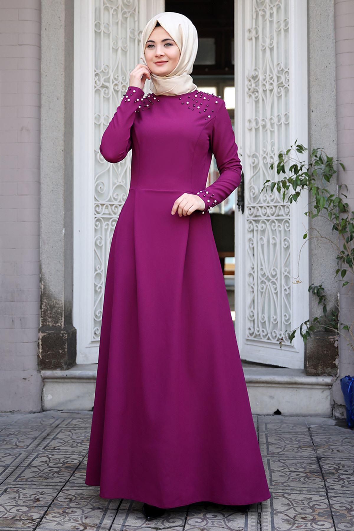 Sümay Omuz Taşlı Elbise Mürdüm SÜM5007