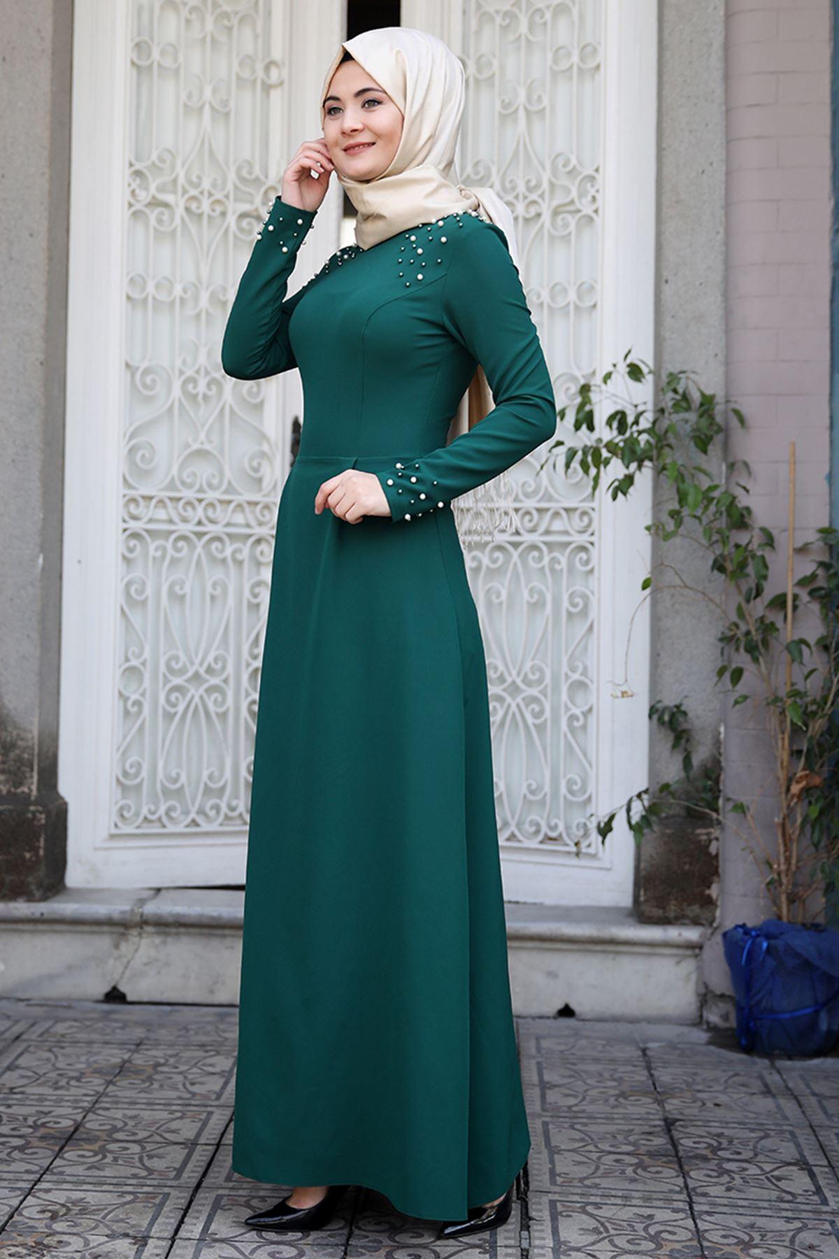 Sümay Omuz Taşlı Elbise Zümrüt SÜM5007