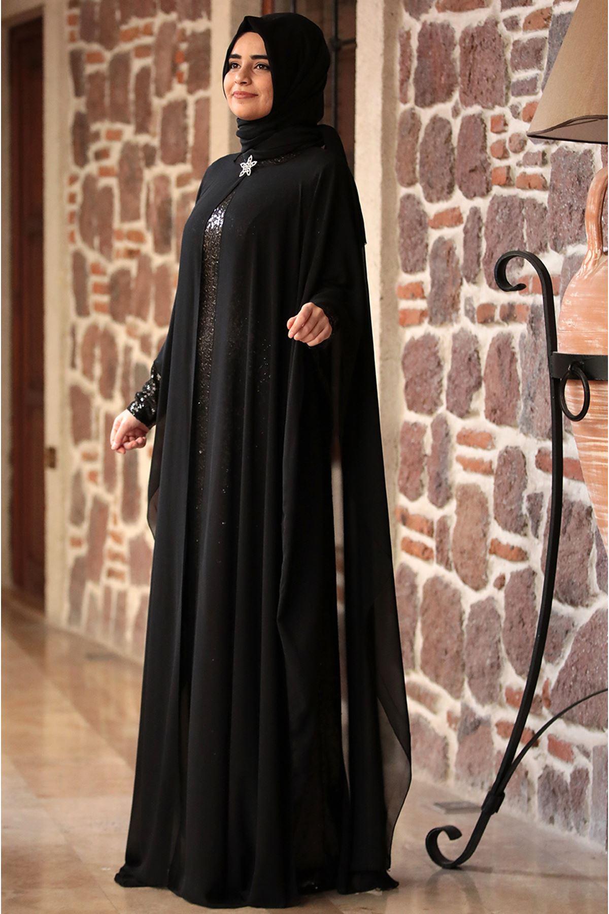 Sümay Pelerinli Sultan Abiye Siyah SÜM5008