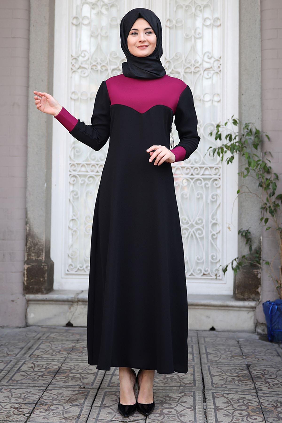Sümay Stil Elbise Mürdüm SÜM5009