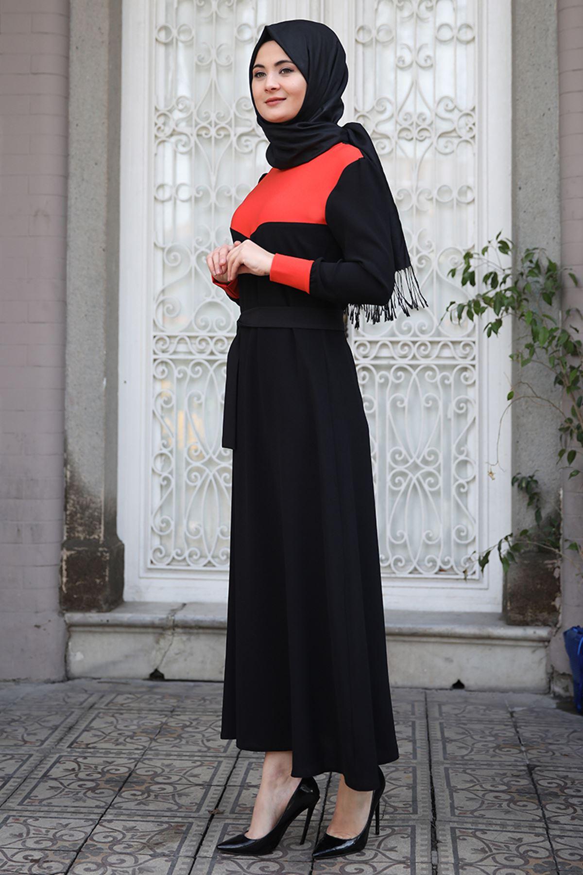 Sümay Stil Elbise Turuncu SÜM5009