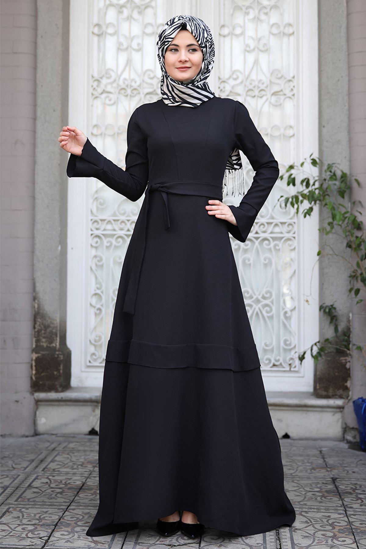 Sümay Volan Elbise Siyah SÜM5011