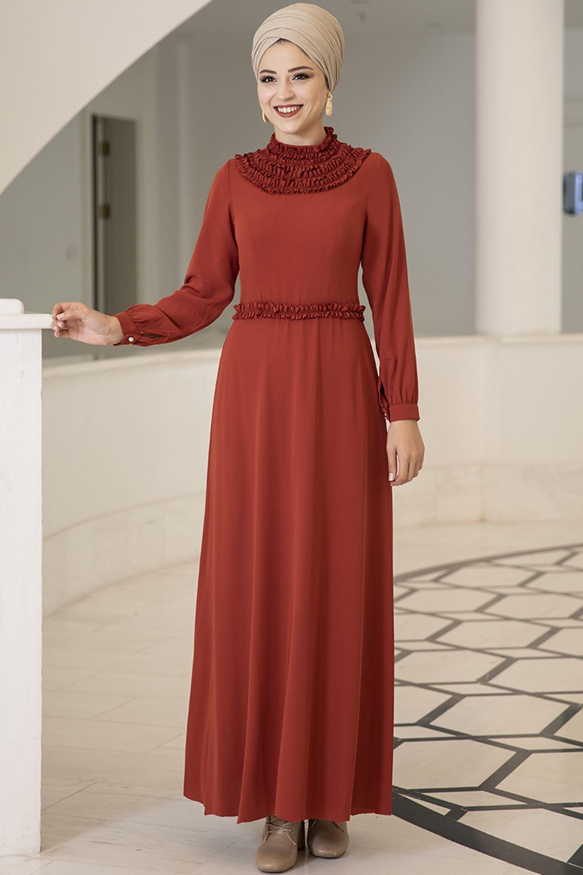 Dresslife Eslem Elbise Kiremit DRE2010