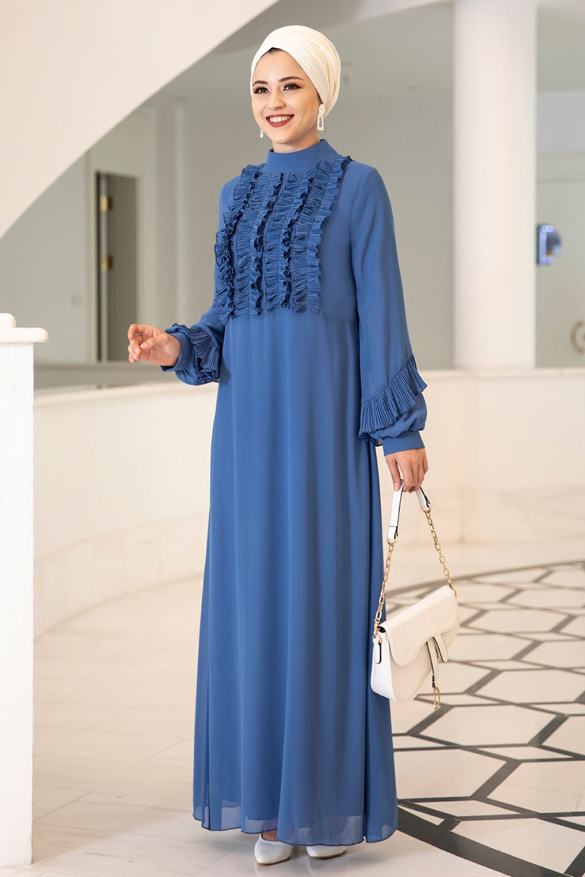 Dresslife Başak Elbise Saks DRE2008