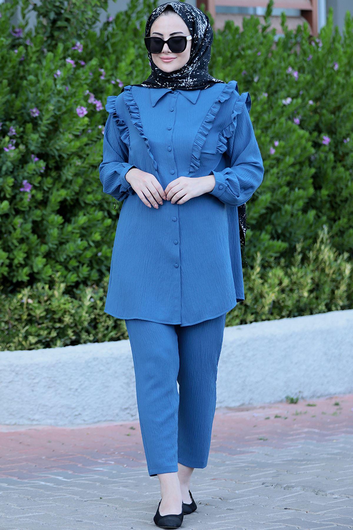 Seda Tiryaki Nervürlü Takım Mavi SED3701