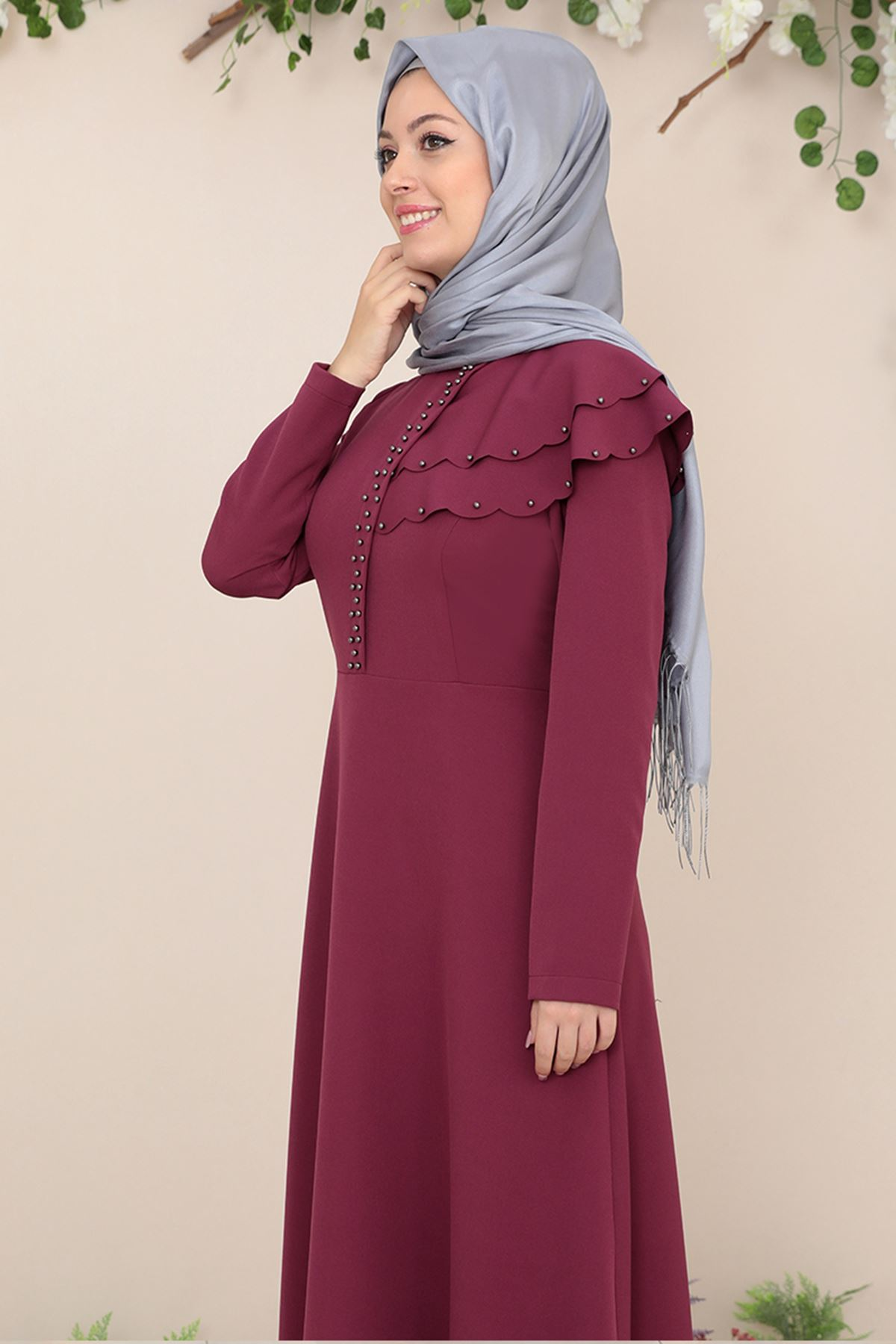 Semra Aydın Bade Elbise Bordo SMR4306