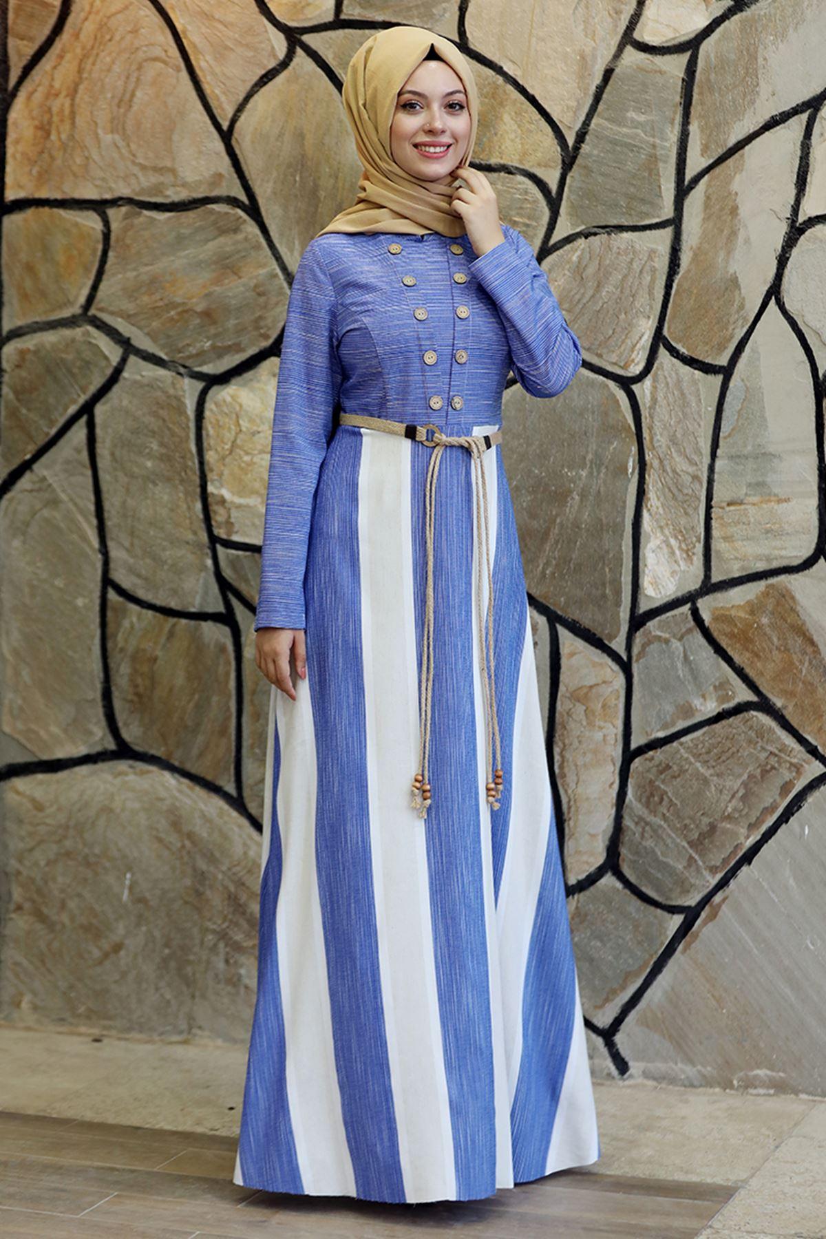 Semra Aydın Ebru Elbise İndigo SMR4305
