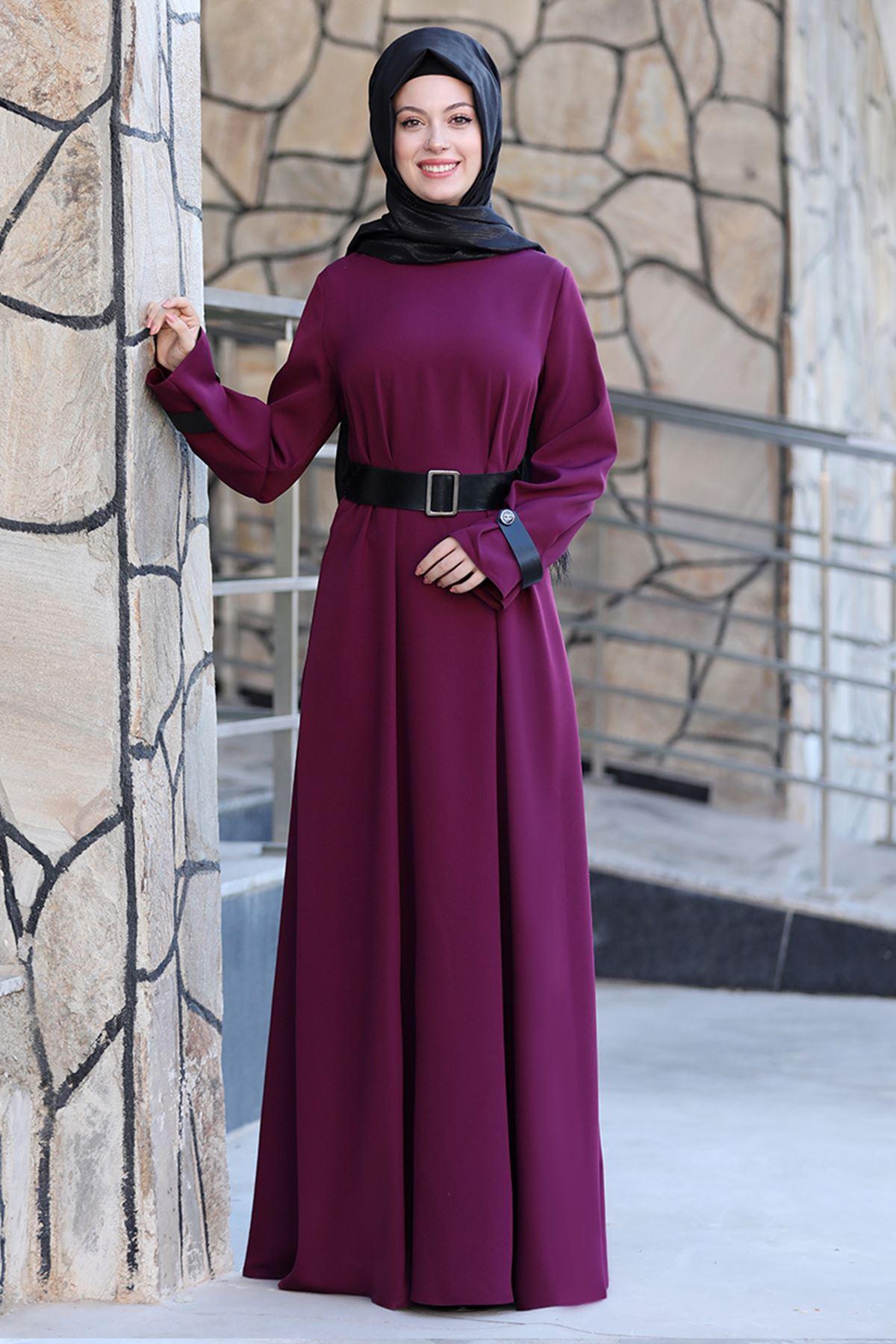 Semra Aydın Naz Elbise Mor SMR4303
