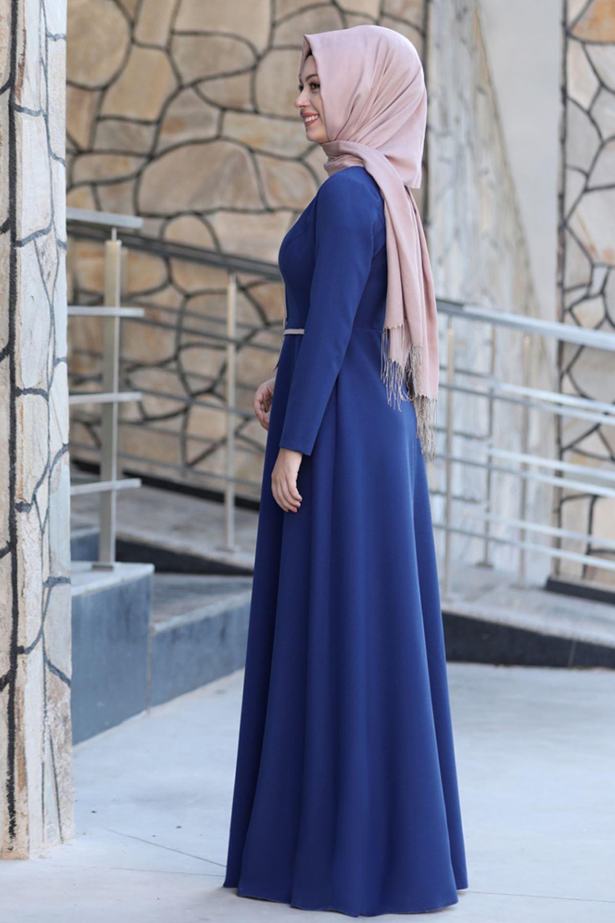 Semra Aydın Firuze Elbise Saks SMR4302