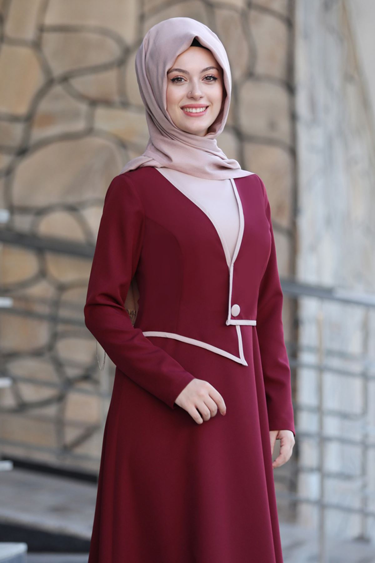 Semra Aydın Firuze Elbise Bordo SMR4302