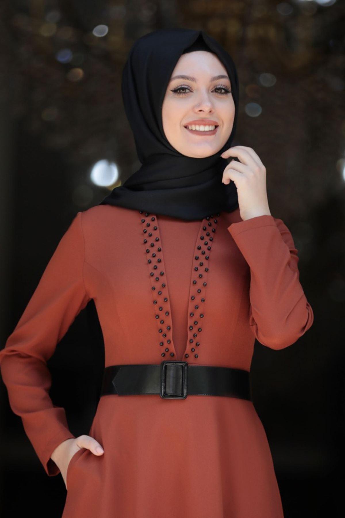 Semra Aydın  Ada İncili Elbise Kiremit SMR4308