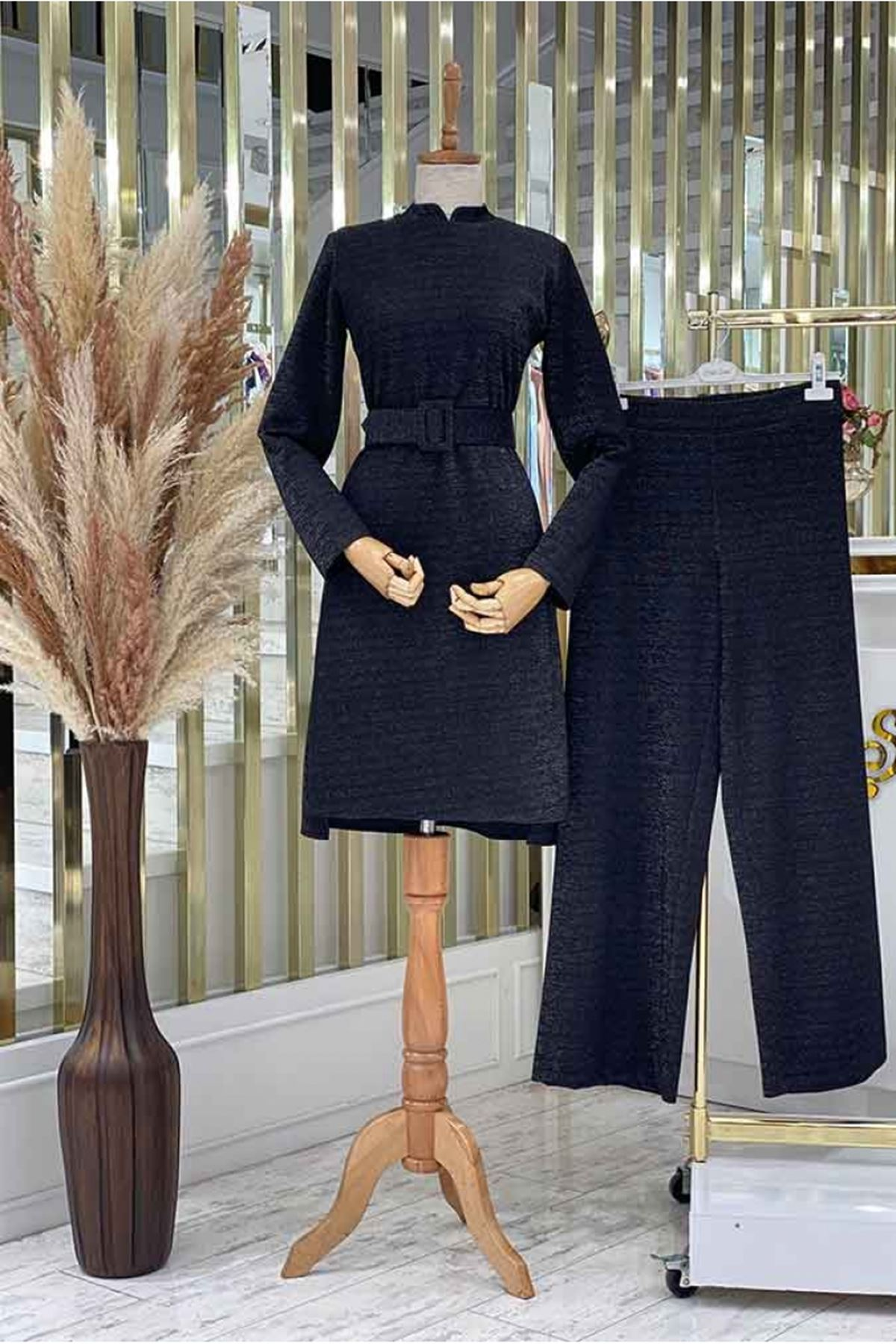 Pınar Şems Pantolon Triko Takım Siyah PNR6132