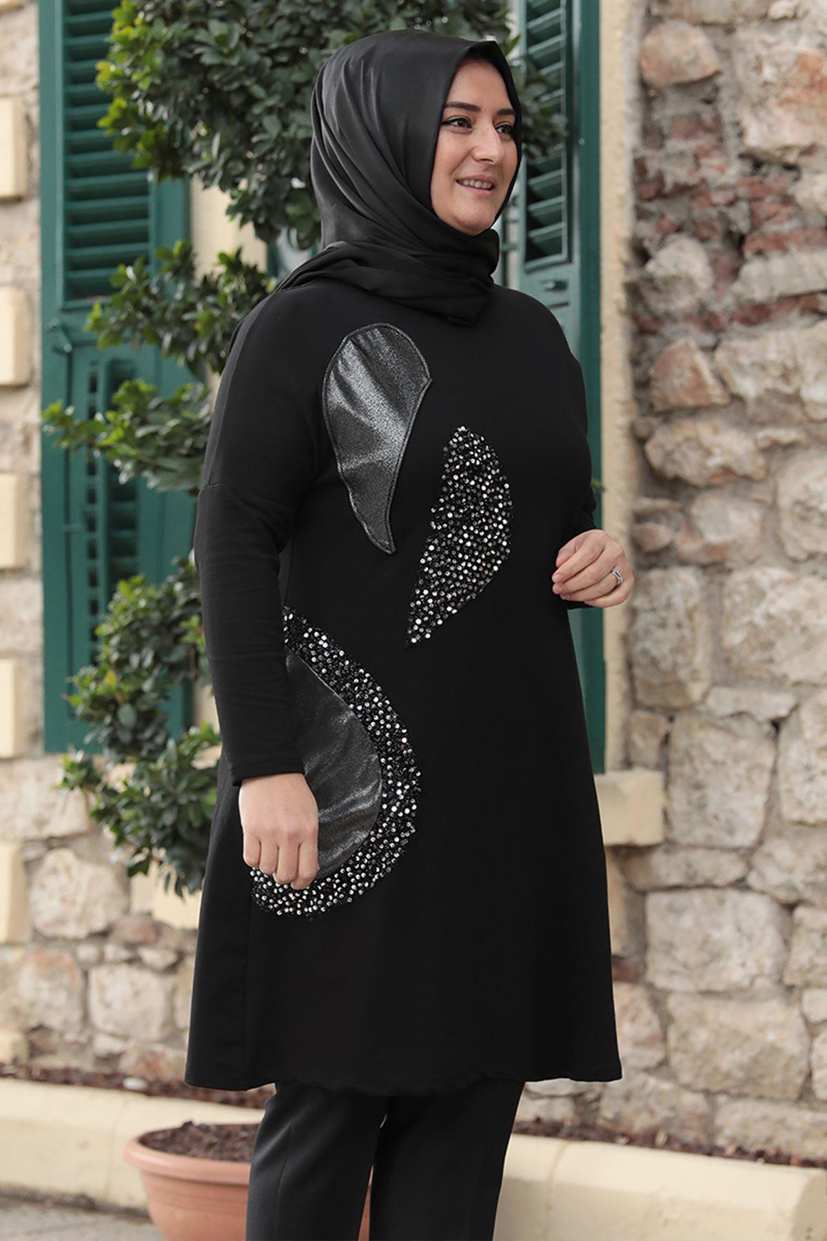 Emsale Işıltılı Tunik Siyah Gümüş  EMS8318
