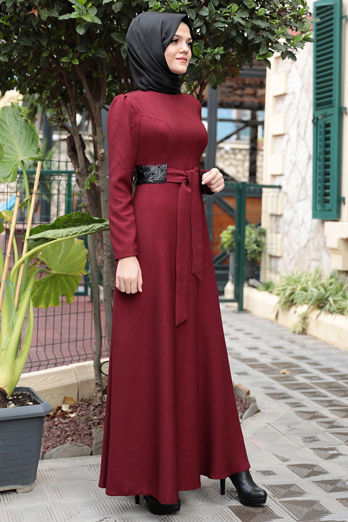 Emsale Buket Elbise Bordo EMS8322