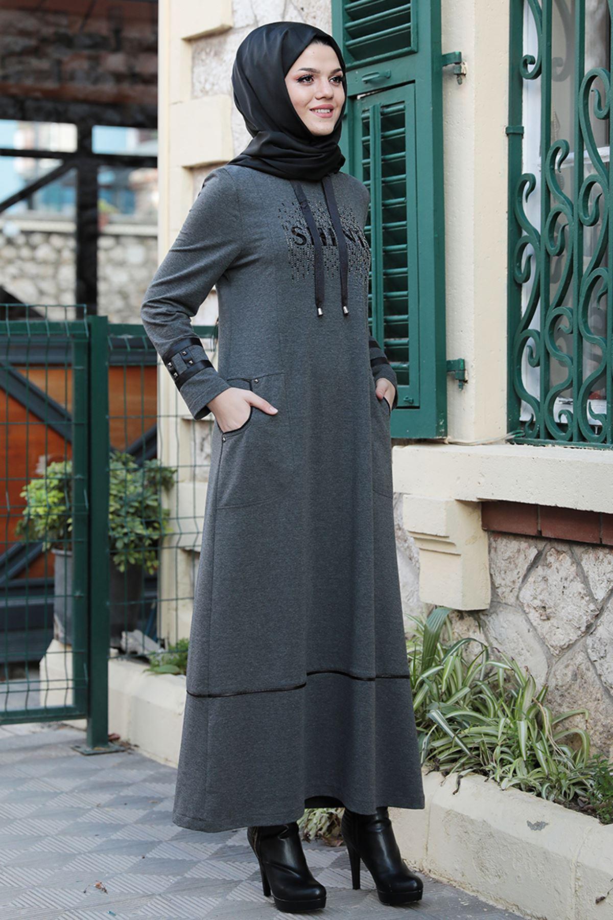 Emsale Ebru Elbise Antrasit EMS8323