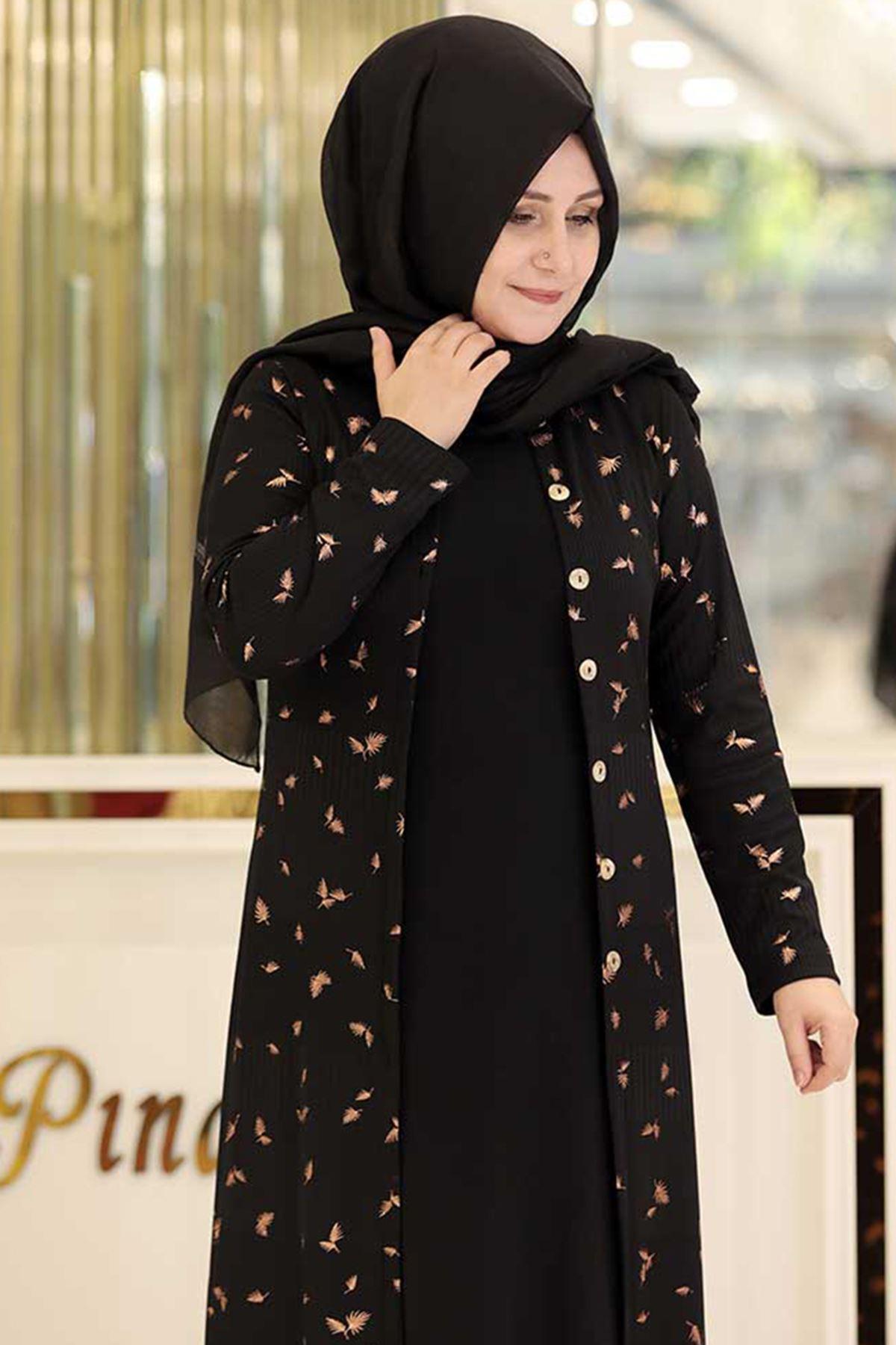 Pınar Şems Simli Triko Ceket Siyah PNR6133