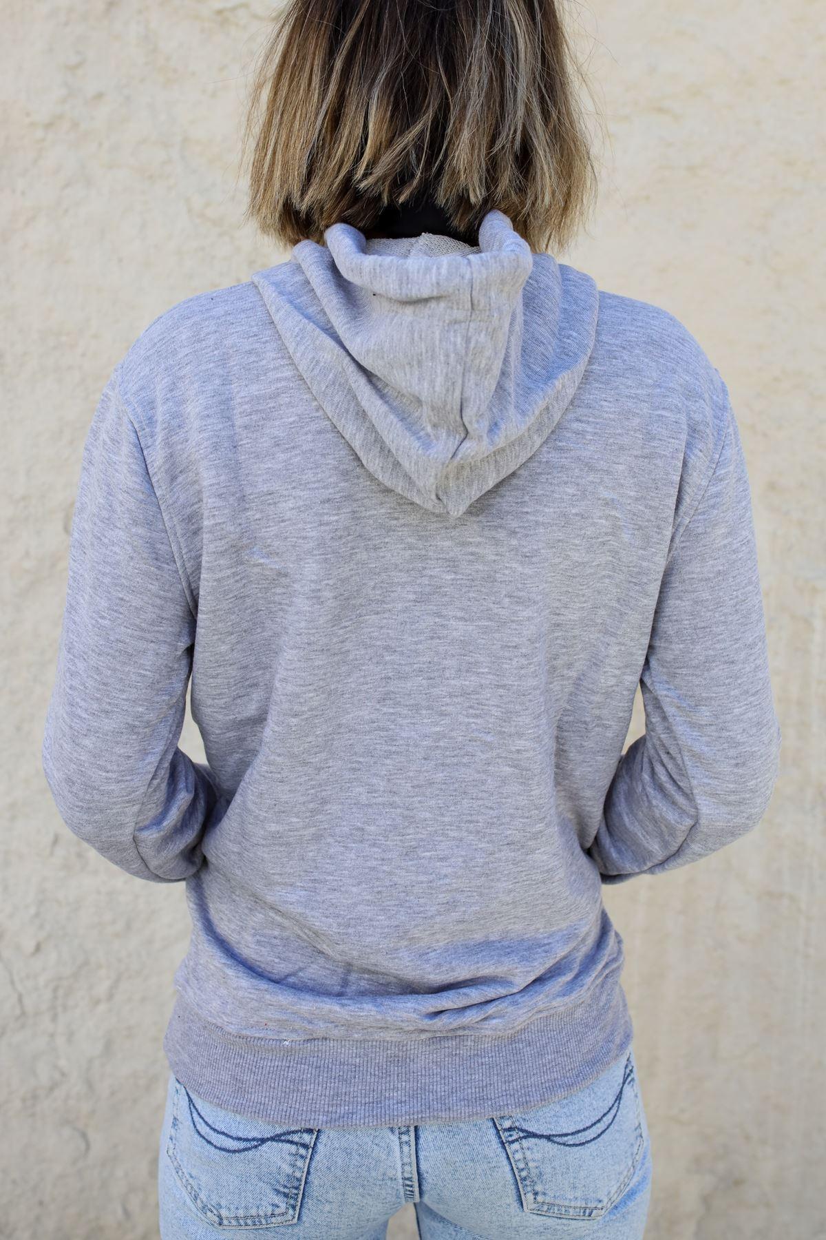 Kapüşonlu Kadın Sweatshirt GRİ