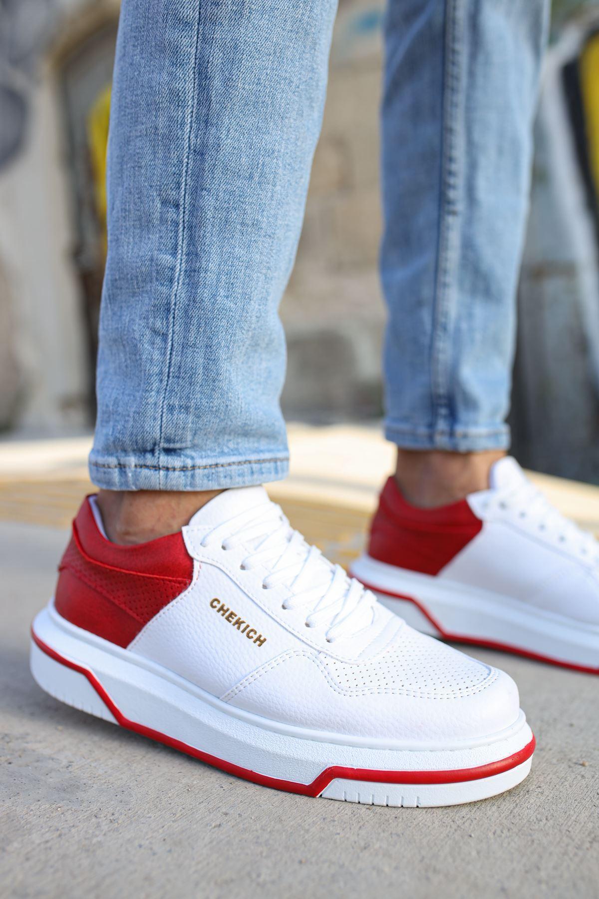 Chekich CH075 İpekyol Beyaz Taban Erkek Ayakkabı BEYAZ / KIRMIZI