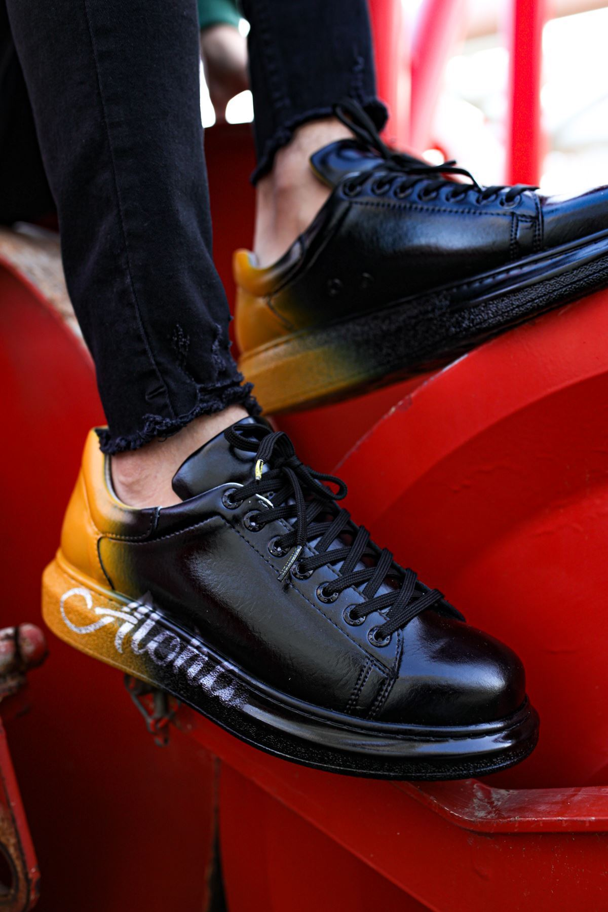 Chekich CH254 BT Erkek Ayakkabı 476 SİYAH / SARI ALOHA