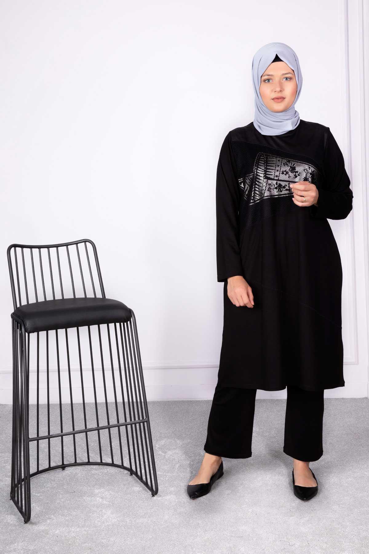 Büyük Beden Tesettür Tunik Siyah 20007