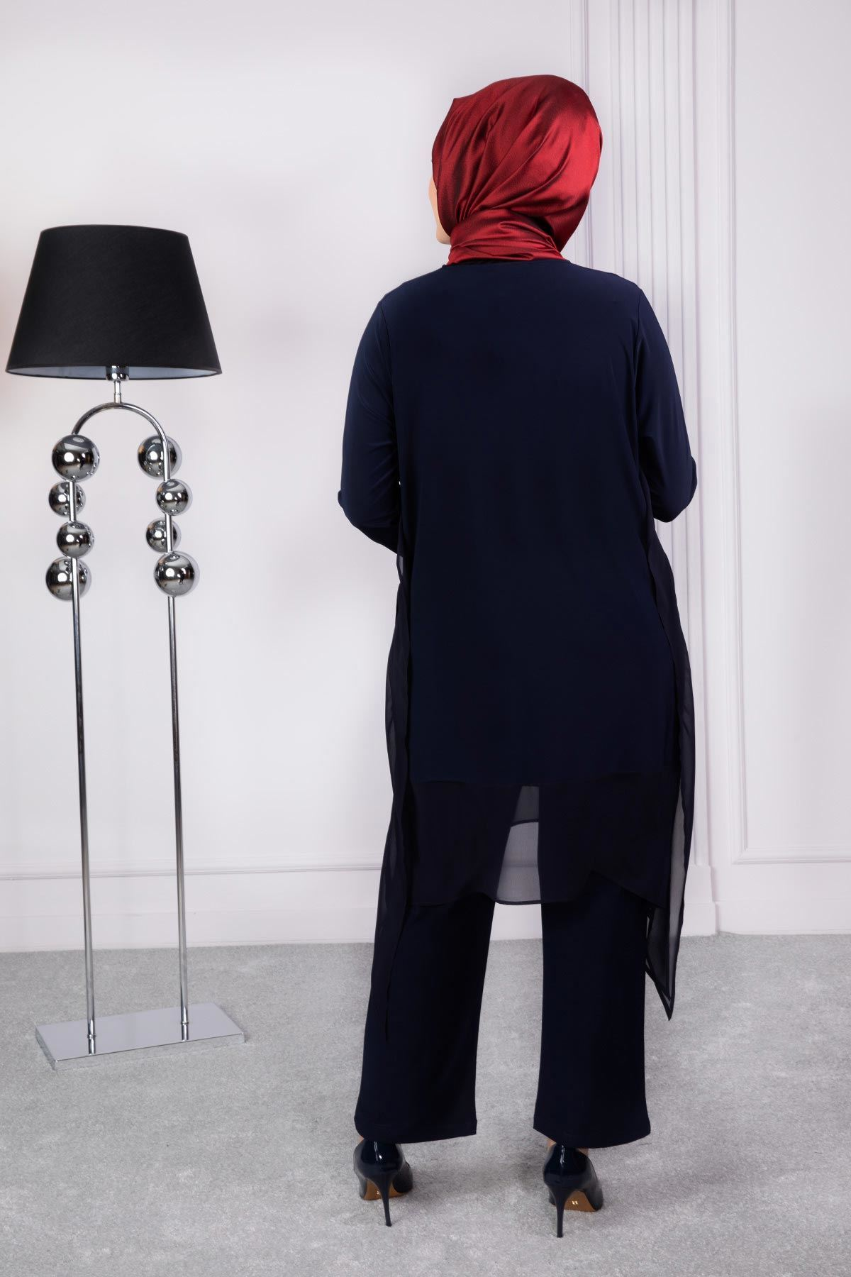 Büyük Beden Tesettür Pantolonlu Takım Lacivert 60003