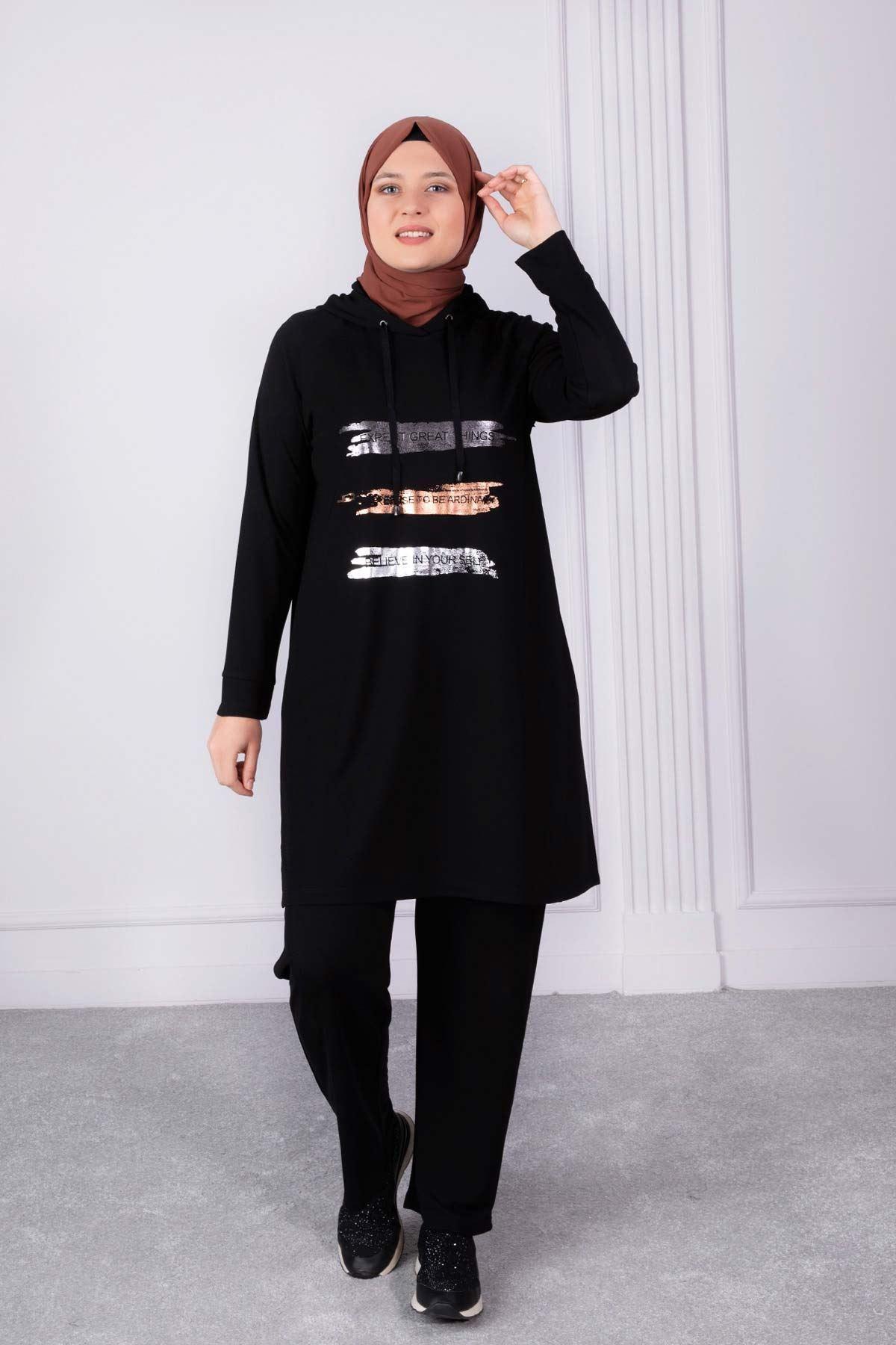 Büyük Beden Pantolonlu Takım Siyah 35008