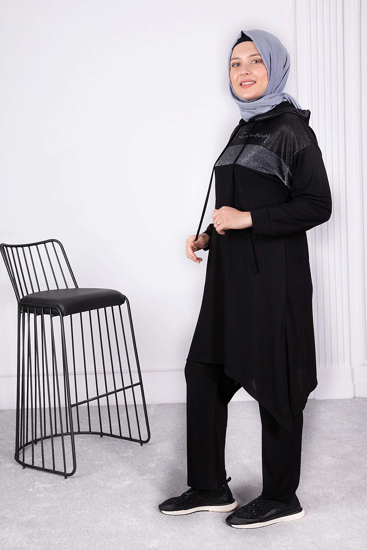 Büyük Beden Pantolonlu Takım Siyah 35010