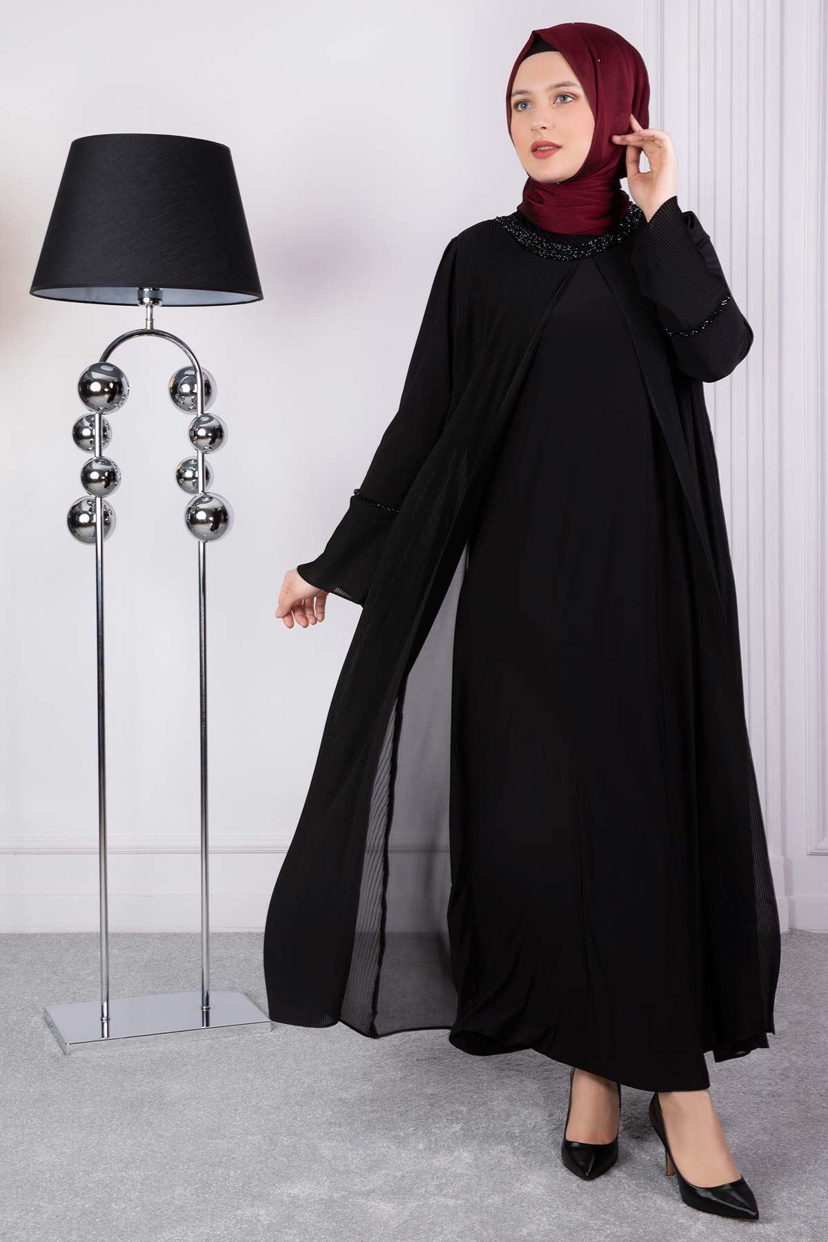 Büyük Beden Tesettür Abiye Siyah 53005