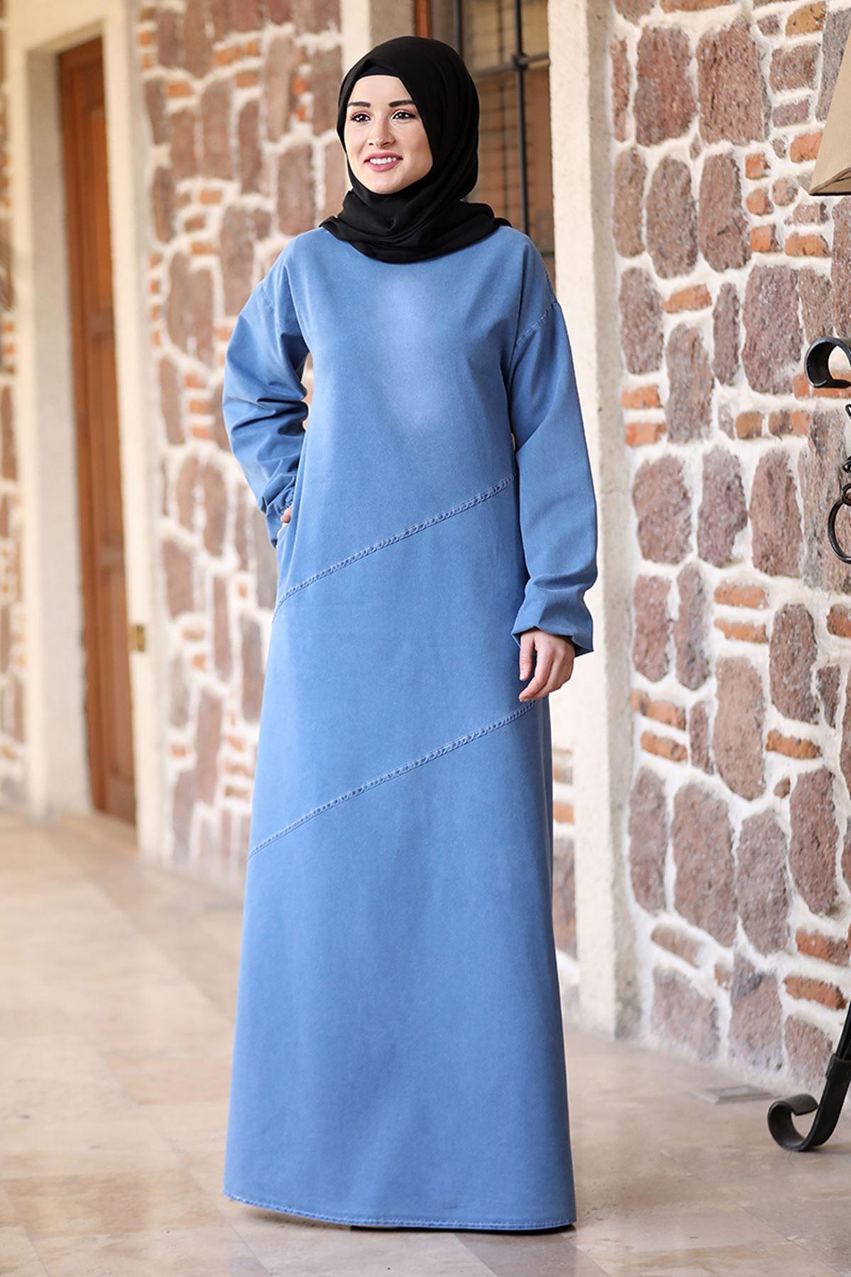 Rana Zenn İkra Kot Elbise Mavi RAN6926