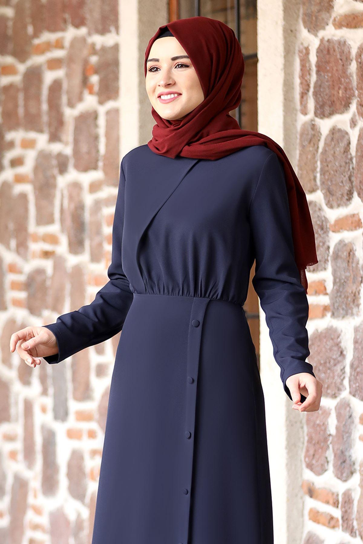 Rana Zenn Arzu Elbise Lacivert RAN6927