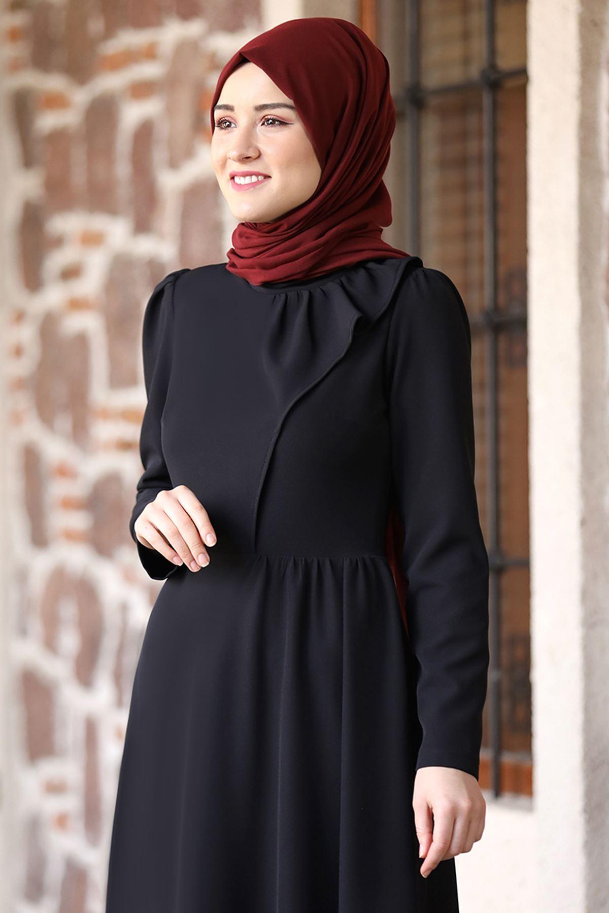 Rana Zenn Begüm Elbise Siyah RAN6928