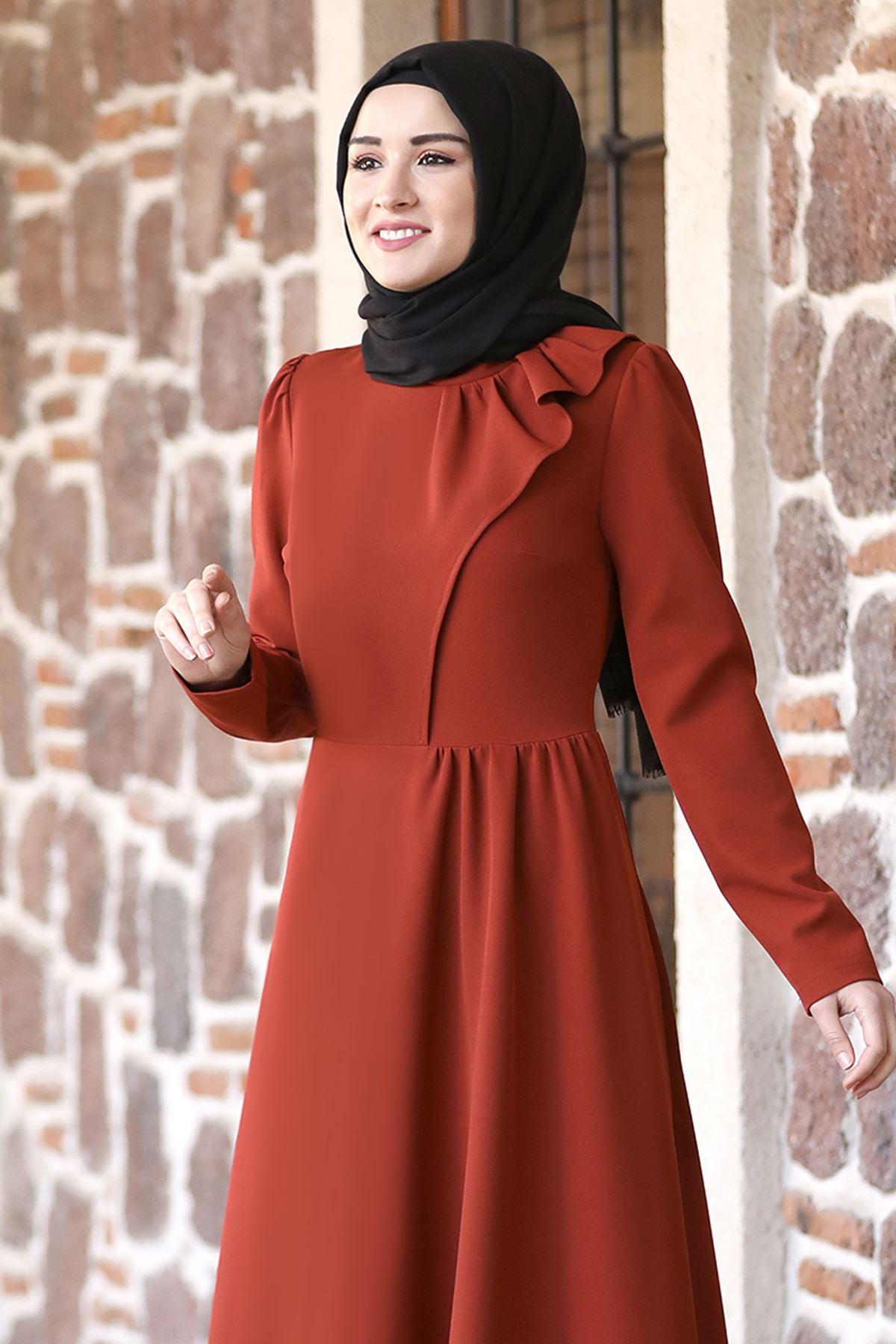 Rana Zenn Begüm Elbise Kiremit RAN6928