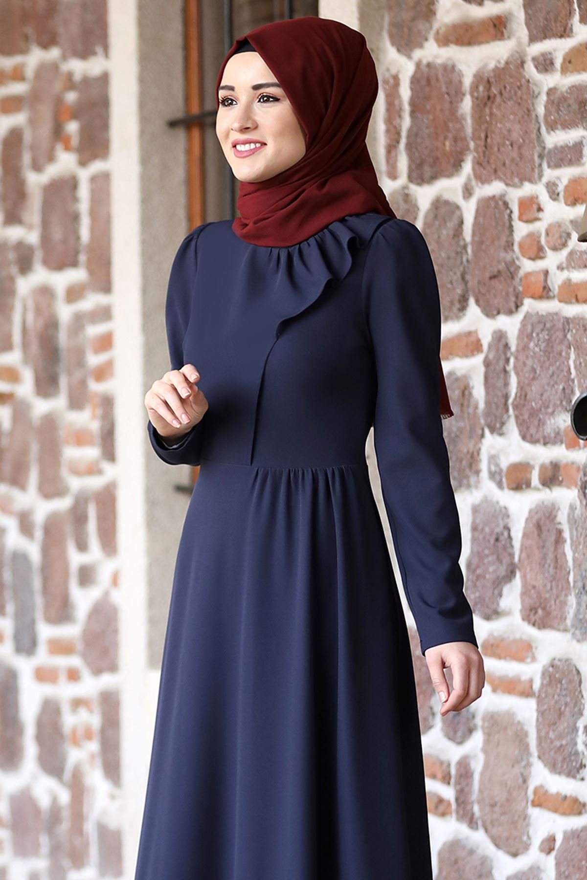Rana Zenn Begüm Elbise Lacivert RAN6928