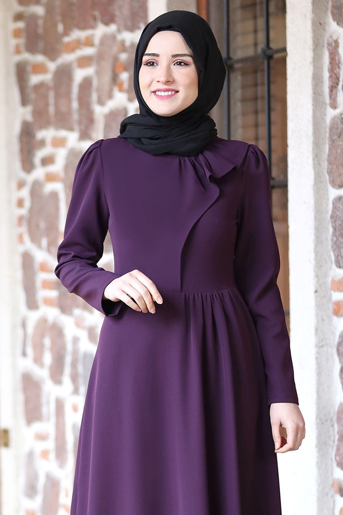 Rana Zenn Begüm Elbise Mor RAN6928