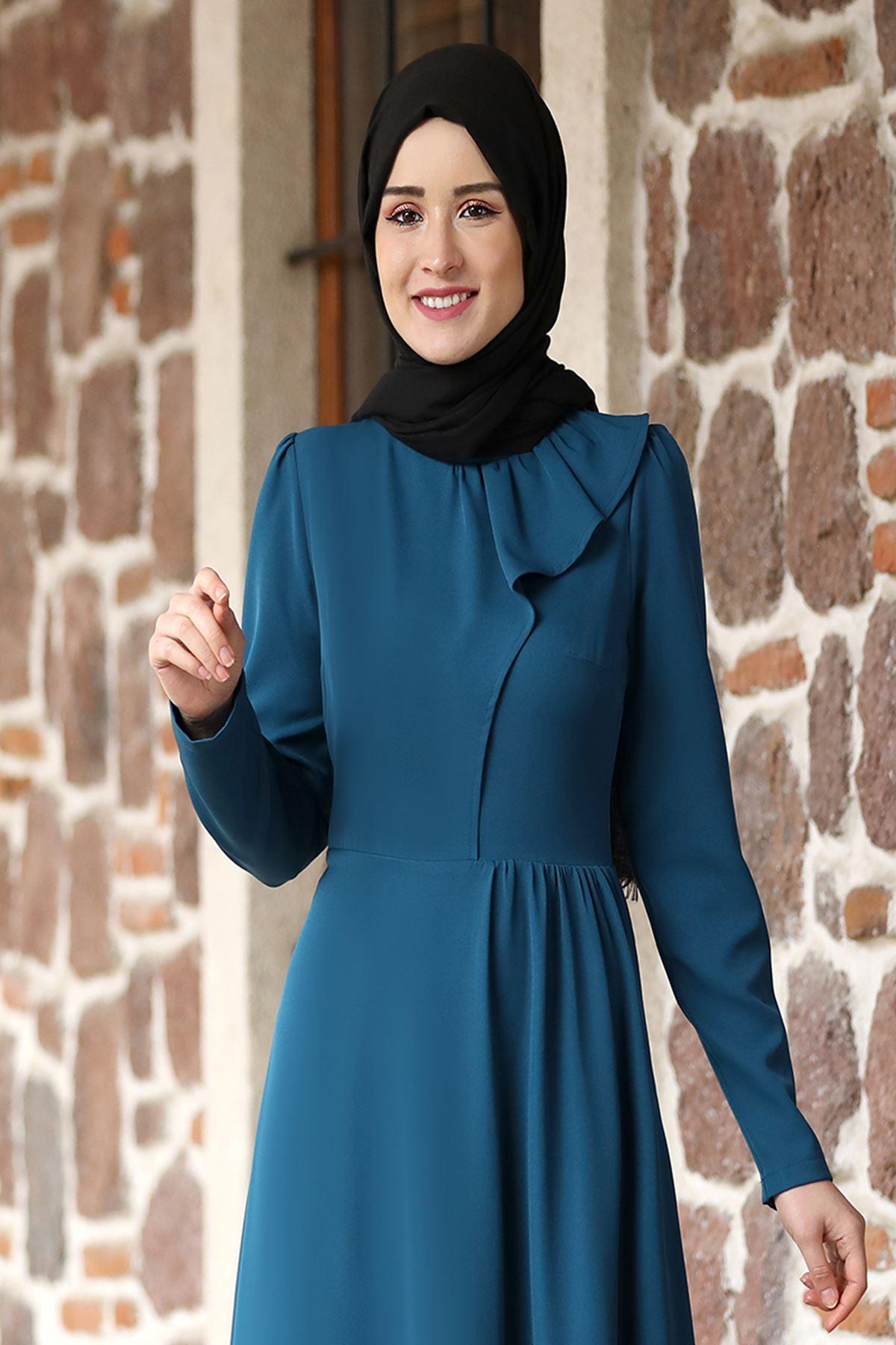Rana Zenn Begüm Elbise Petrol RAN6928