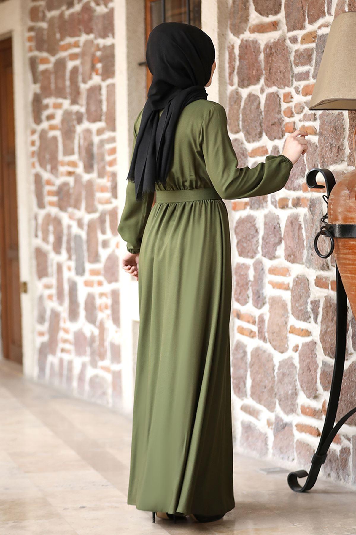 Rana Zenn Ceren Elbise Haki RAN6929