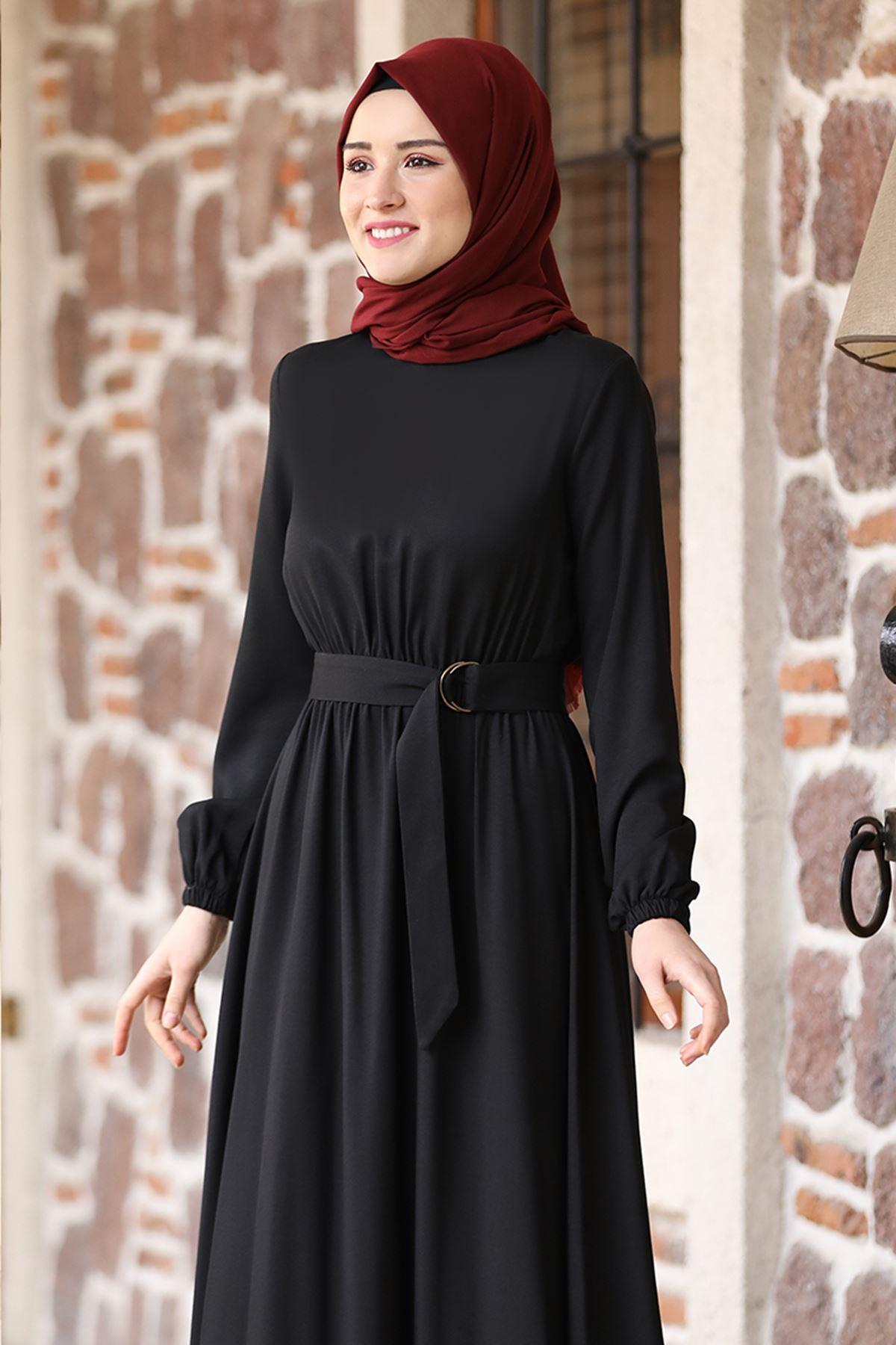 Rana Zenn Ceren Elbise Siyah RAN6929