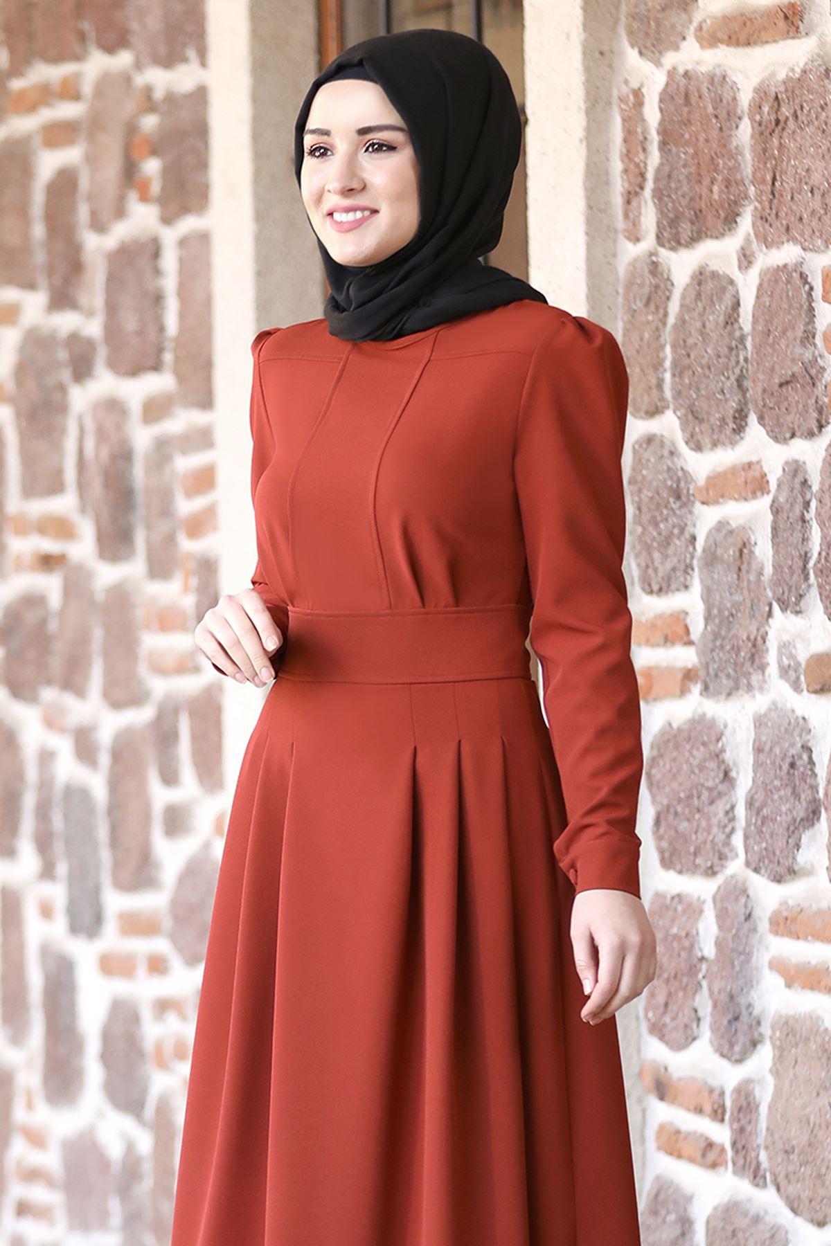Rana Zenn Öykü Elbise Kiremit  RAN6930